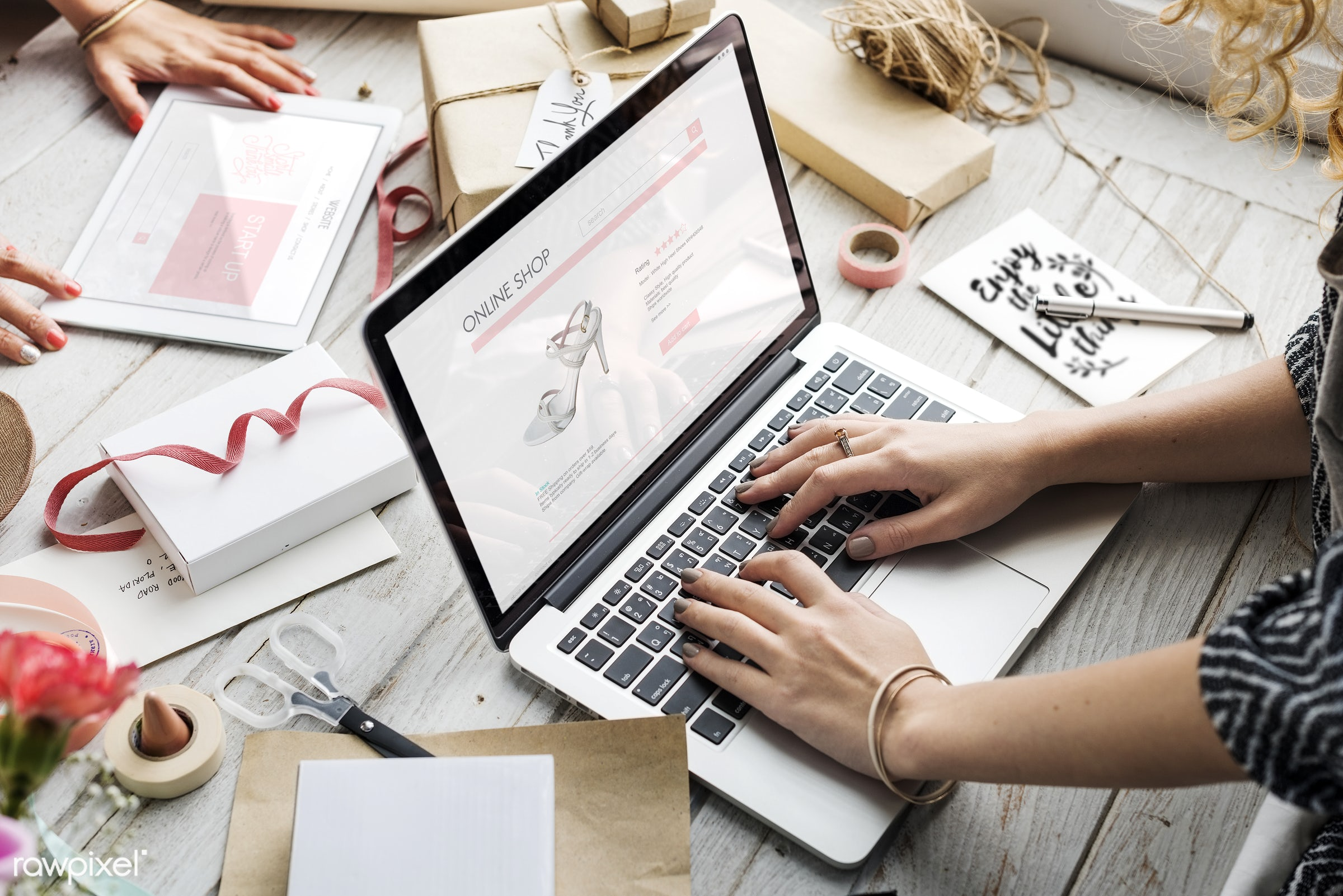 Online merchandise - computer, shopping, online shopping, laptop, shop, buyer, online shop, internet, buy, card, commerce,...