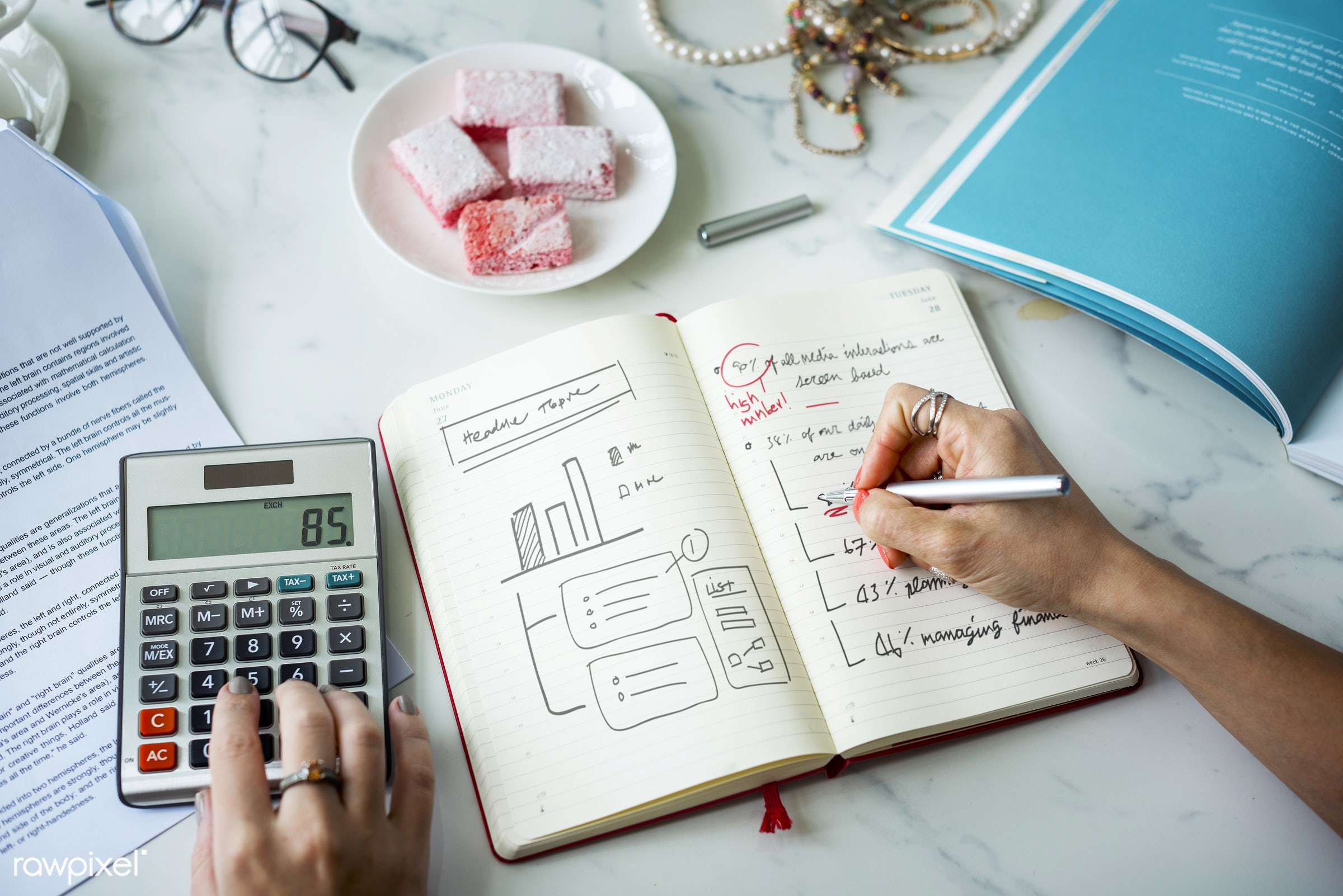 finance, calculator, work, business, plan, note, merchandise, laptop, writing, assistance, calculation, colleague, couple,...