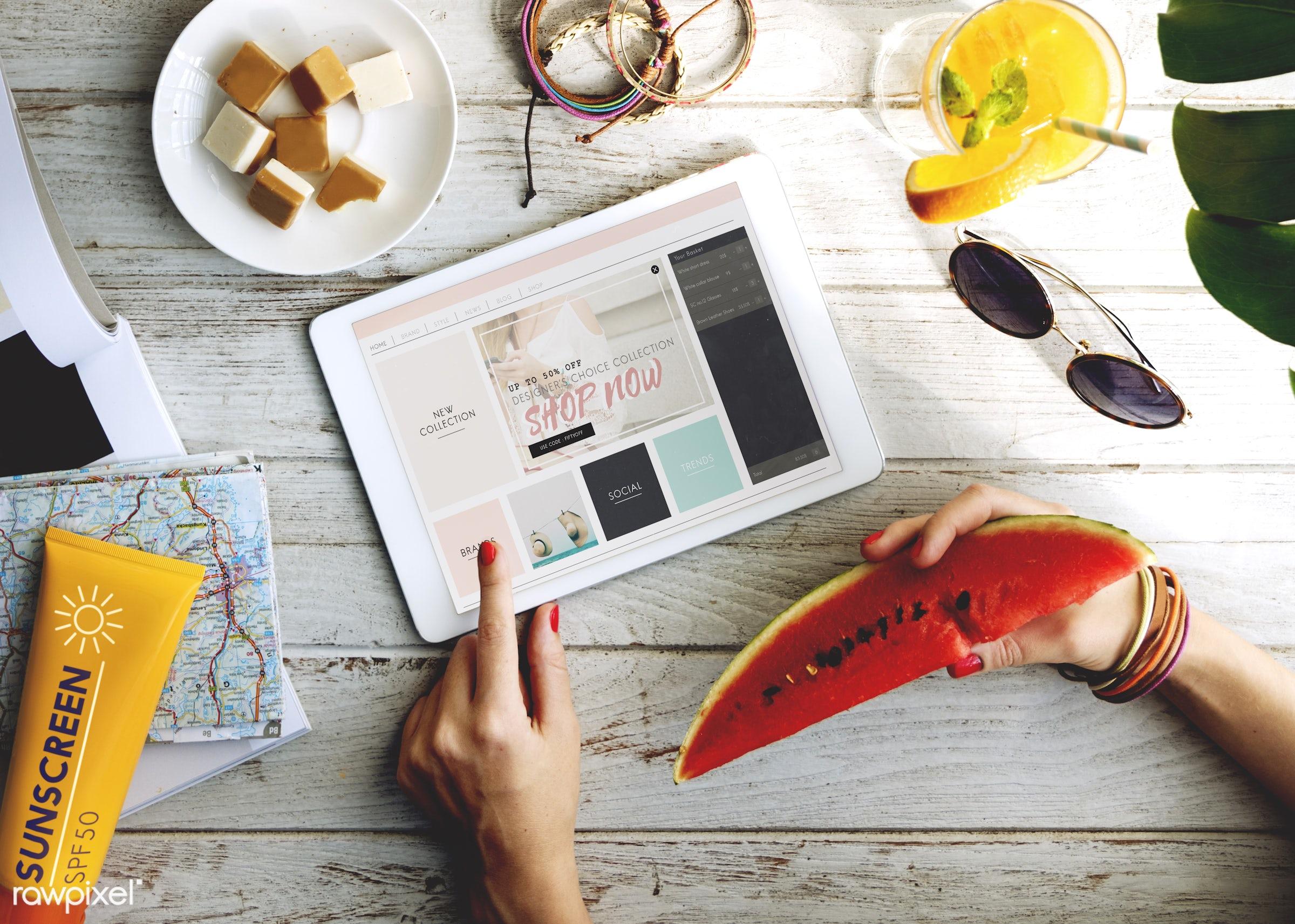 shopping, tablet, technology, summer, mock up, aerial, break, citrus, device, digital, digital device, digital tablet, fresh...