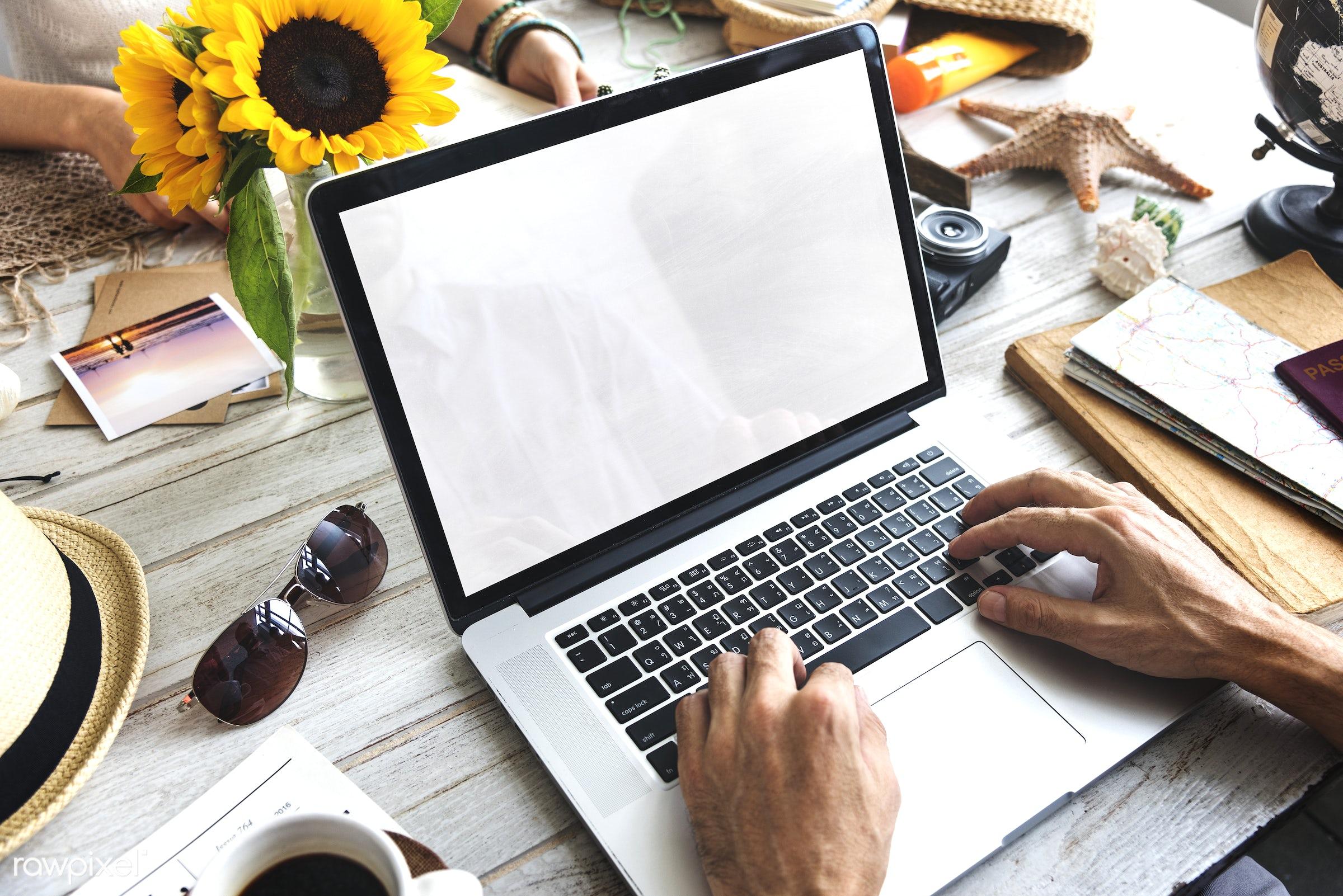 alone, blank, closeup, computer, connection, copy space, design space, desktop, device, digital, hands, holiday, laptop,...