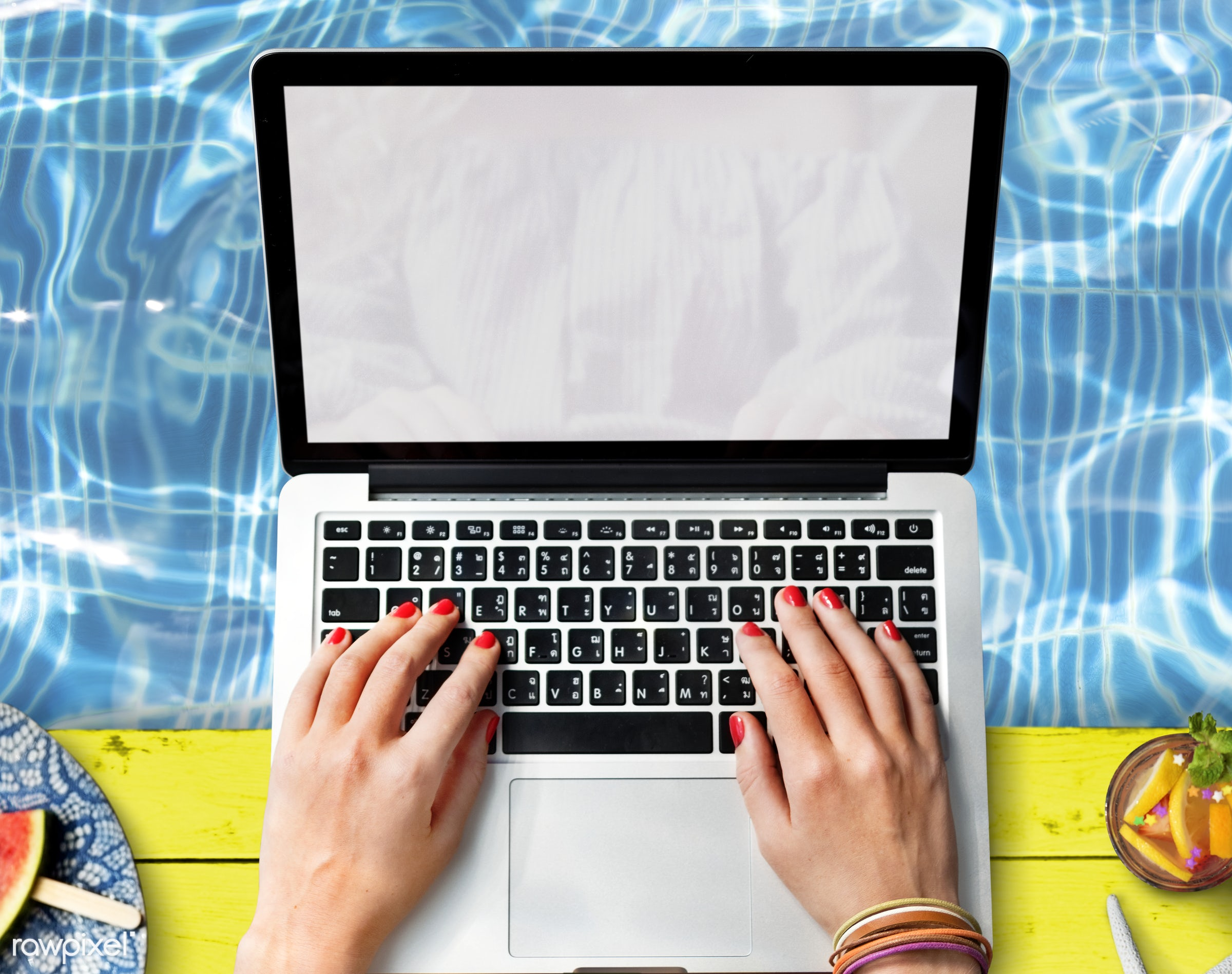 laptop, aerial, alone, blank, browsing, computer, copy space, design space, device, digital, hands, holiday, leisure,...