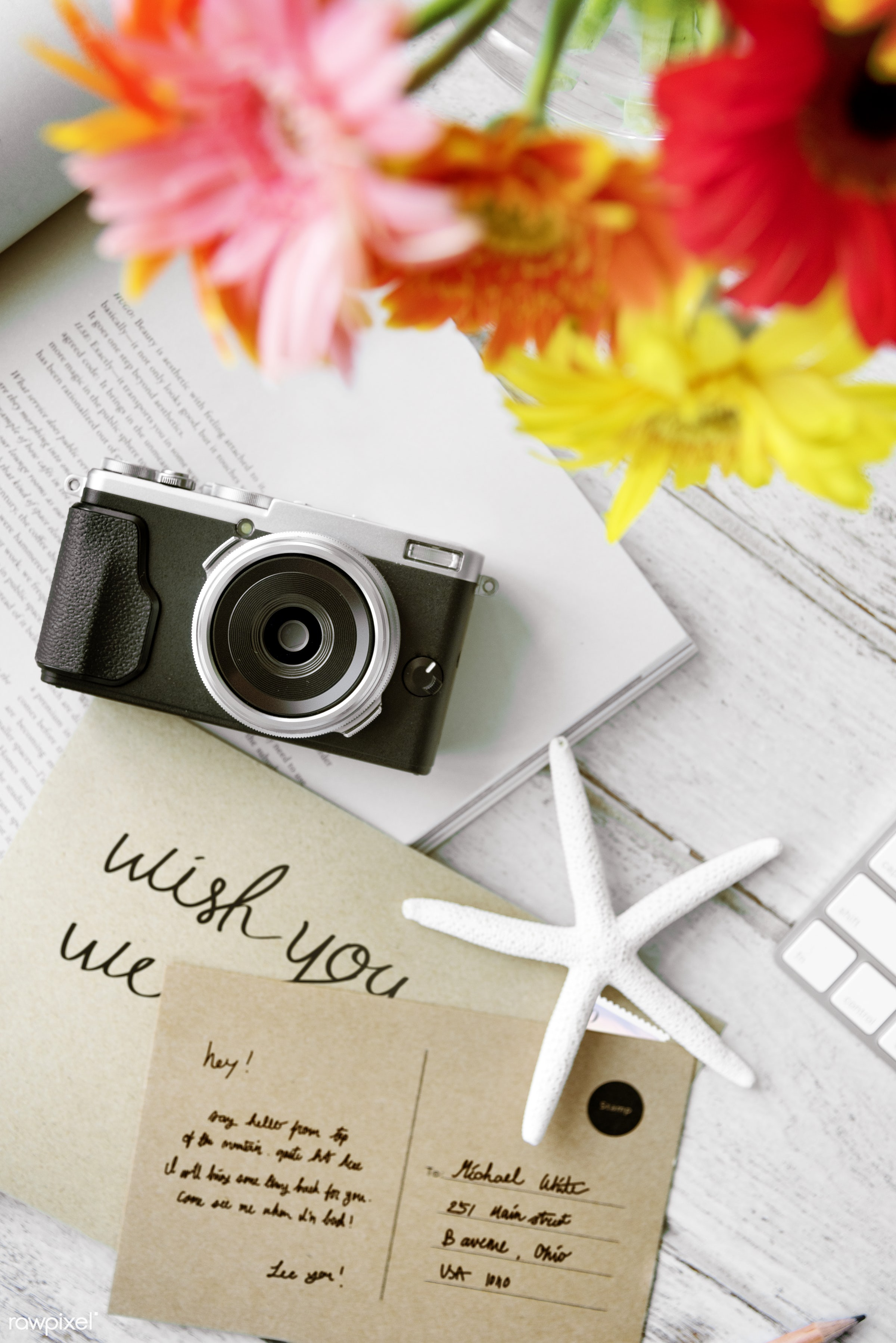aerial, analog, camera, card, closeup, colorful, film camera, flat lay, flowers, holiday, journey, leisure, letter,...