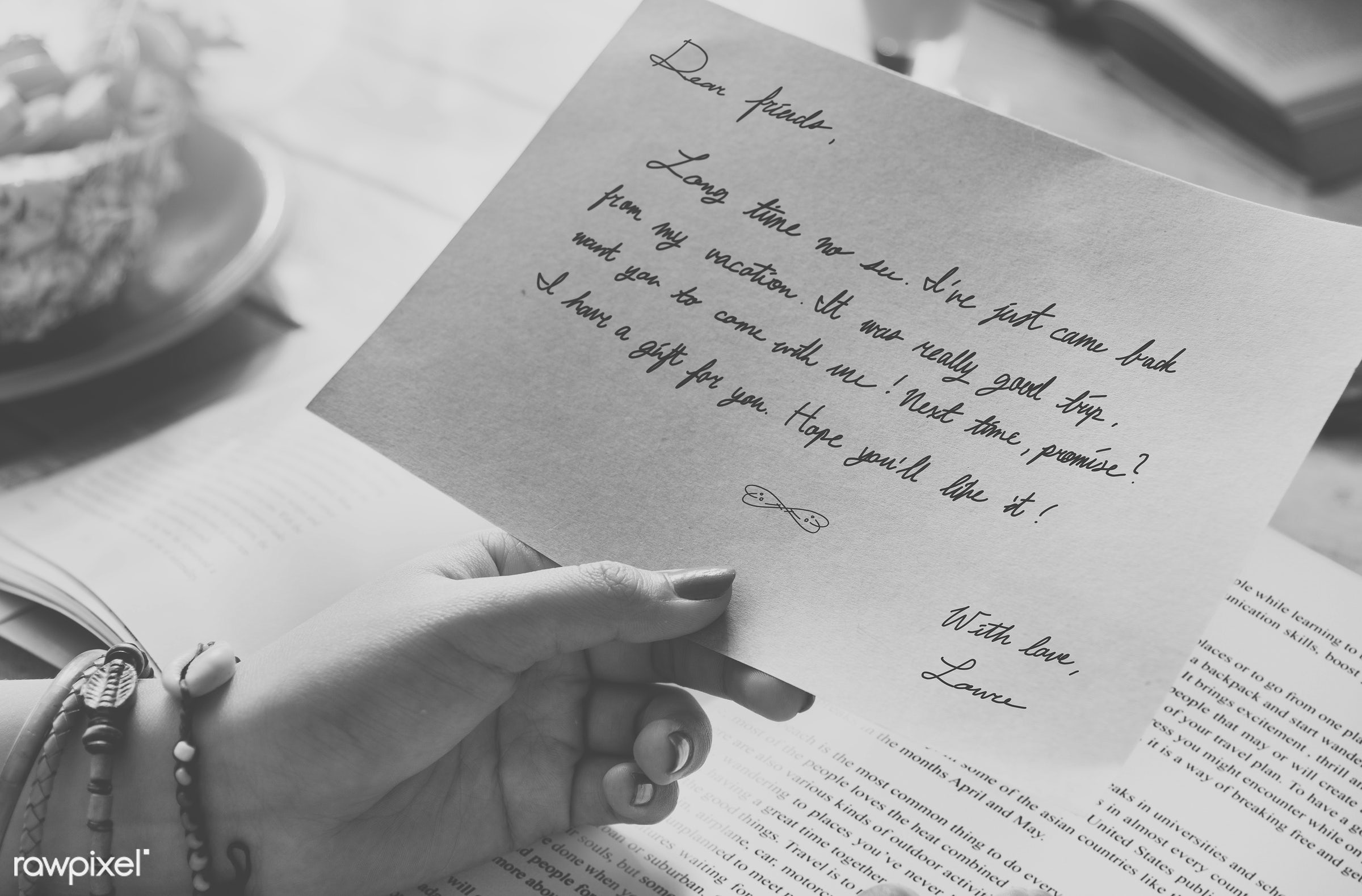 black and white, card, closeup, grayscale, hands, holiday, journey, leisure, letter, lifestyles, message, note, paper,...