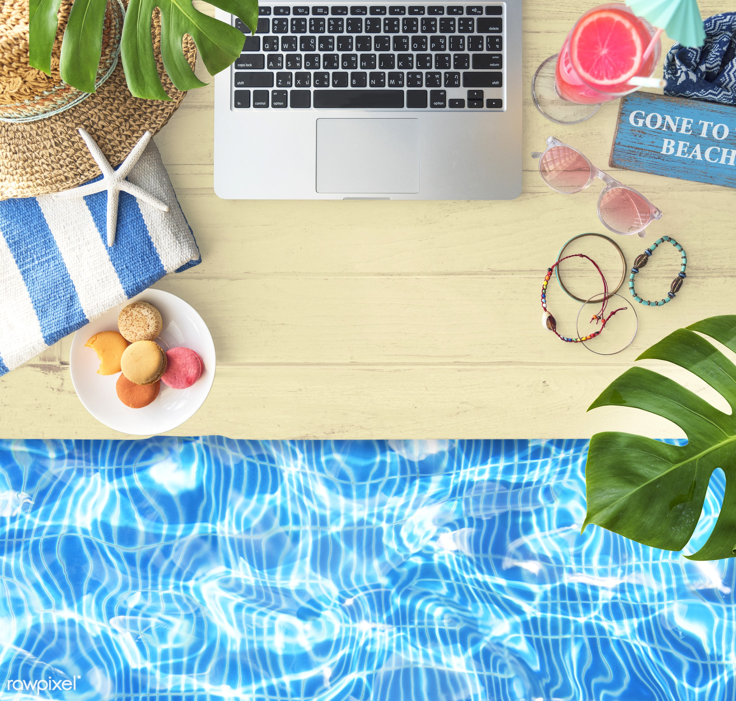 aerial, beach, browsing, computer, desk, device, digital, drink, electronic, flat lay, free time, hat, holiday, laptop,...