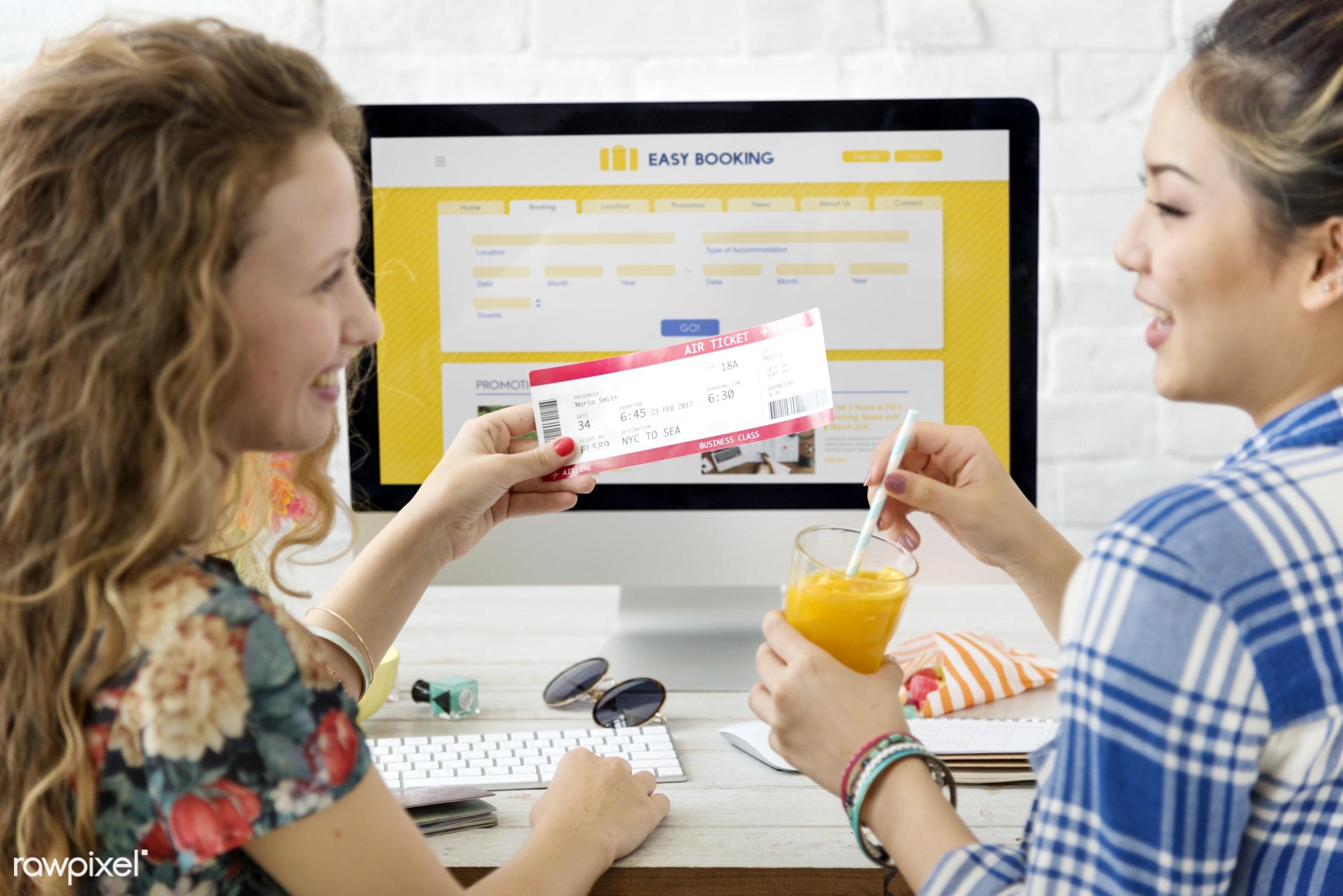 ticket, booking, computer, destination, device, digital, flight, fly, form, friends, friendship, holiday, hotel, internet,...