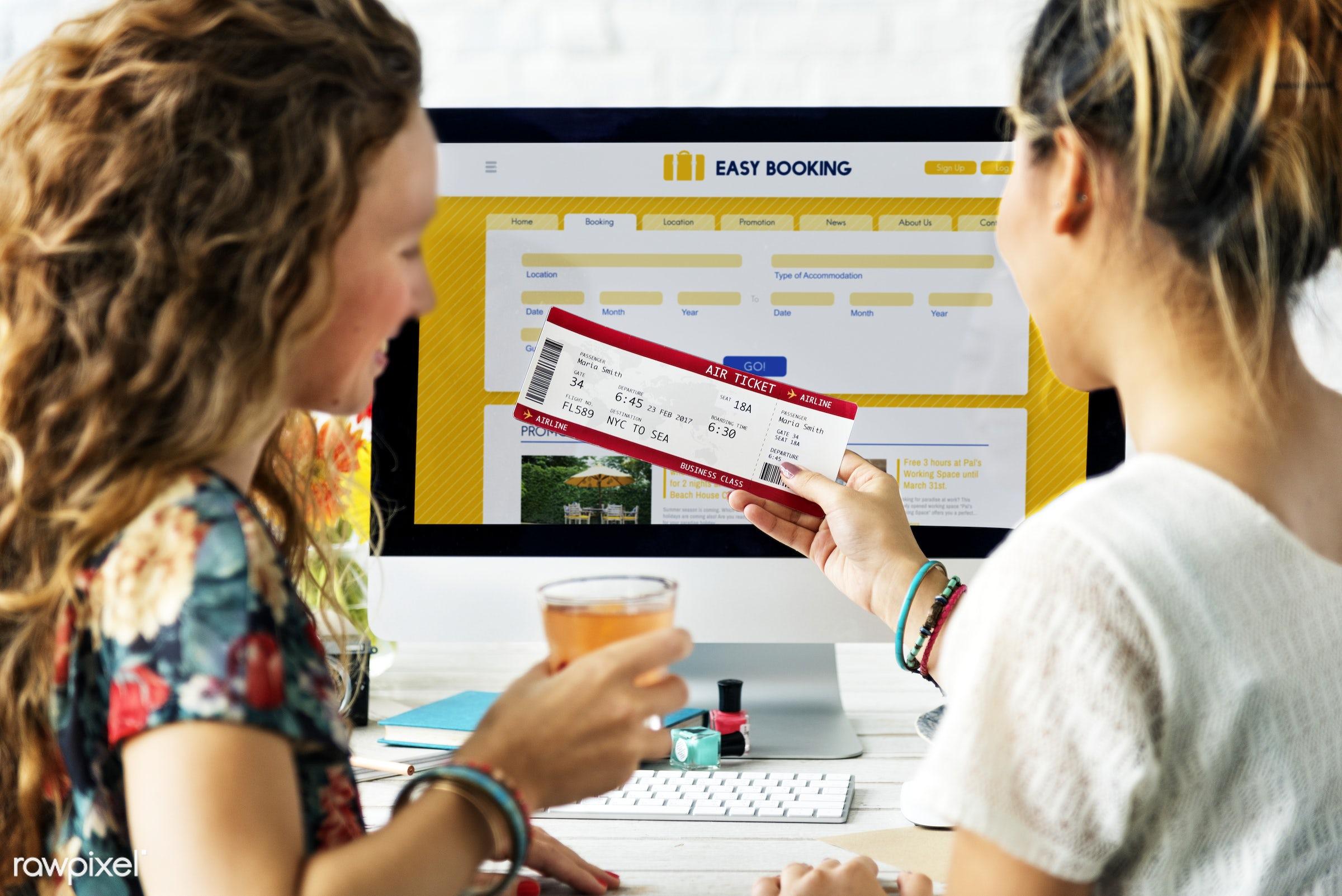 booking, computer, destination, device, digital, flight, fly, form, friends, friendship, holiday, hotel, internet, journey,...