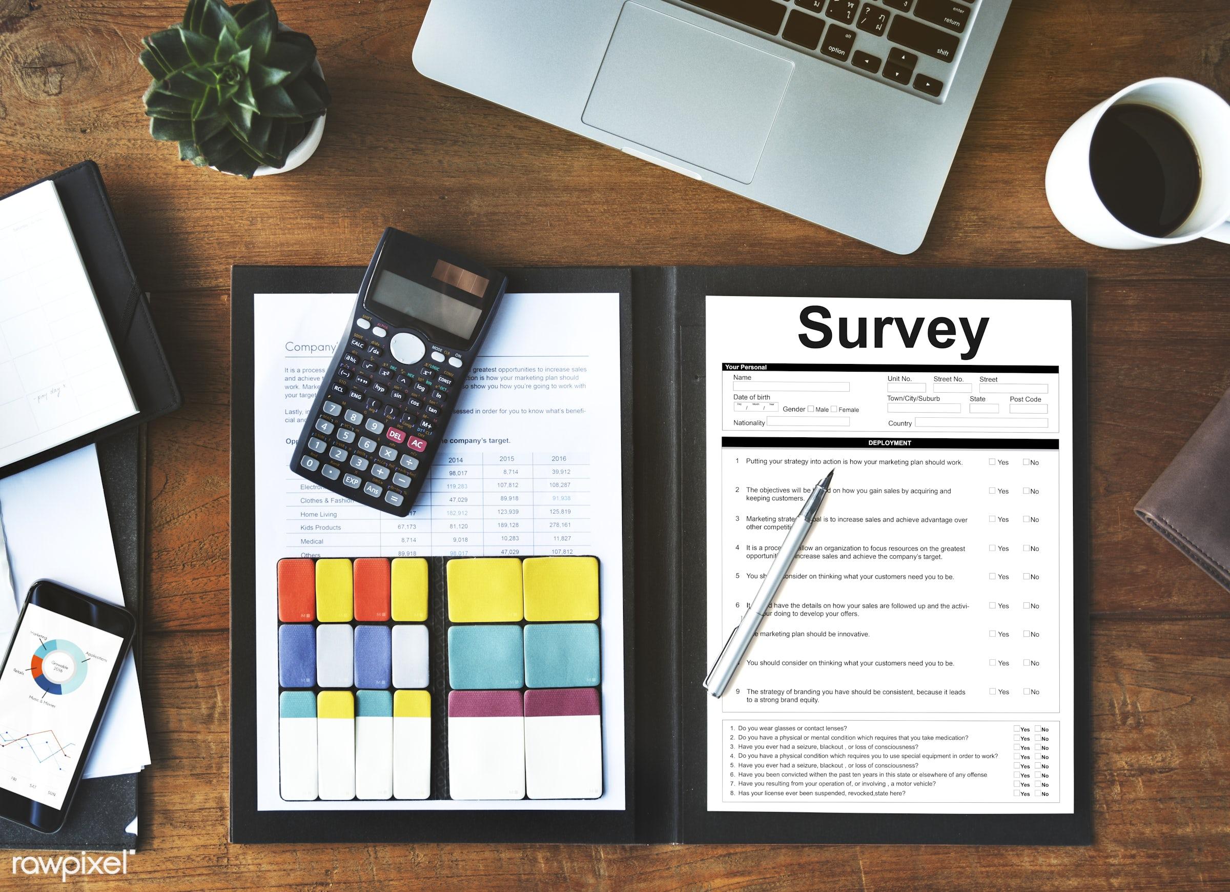 survey, feedback, accountant, aerial view, business, calculator, check, checklist, choice, coffee, computation, computer,...