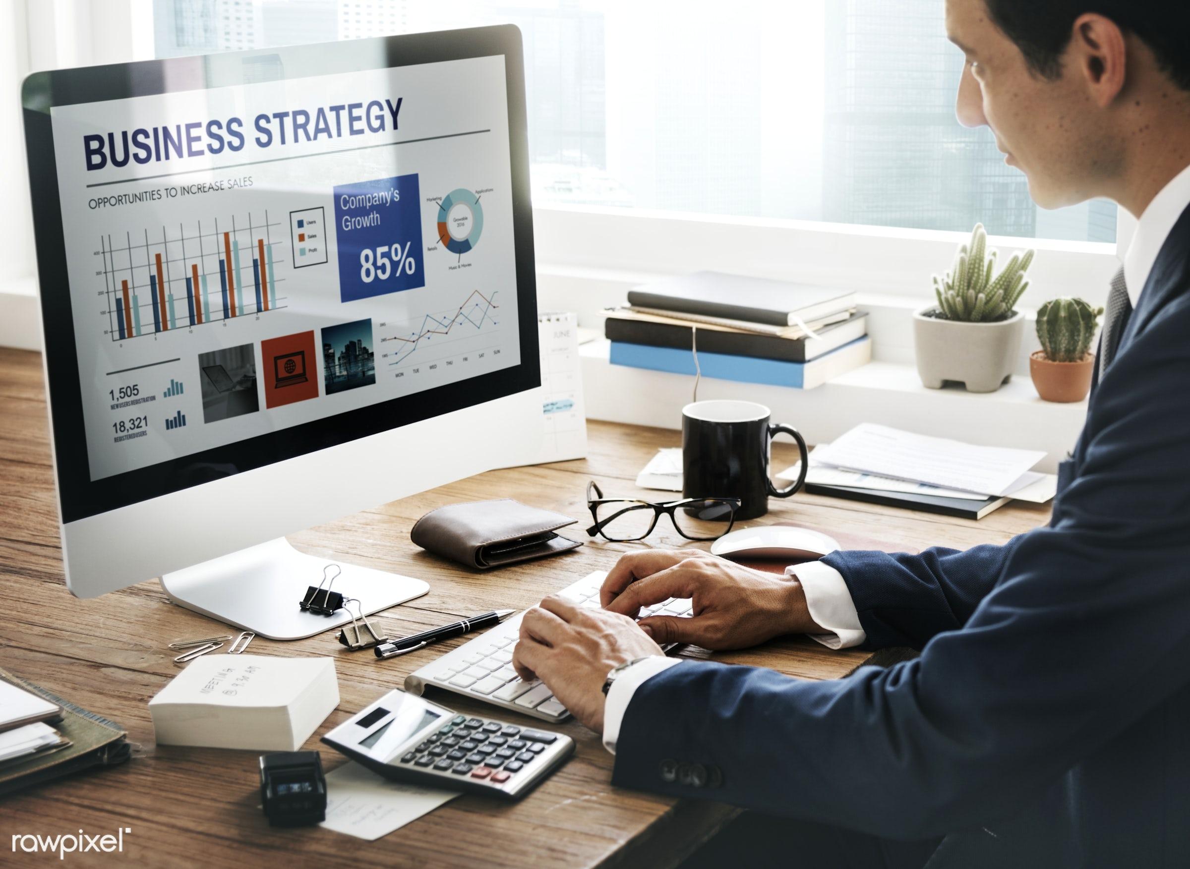 business, strategy, book, businessman, finance, calculator, aerial view, analysis, bookkeeping, break, business plan,...