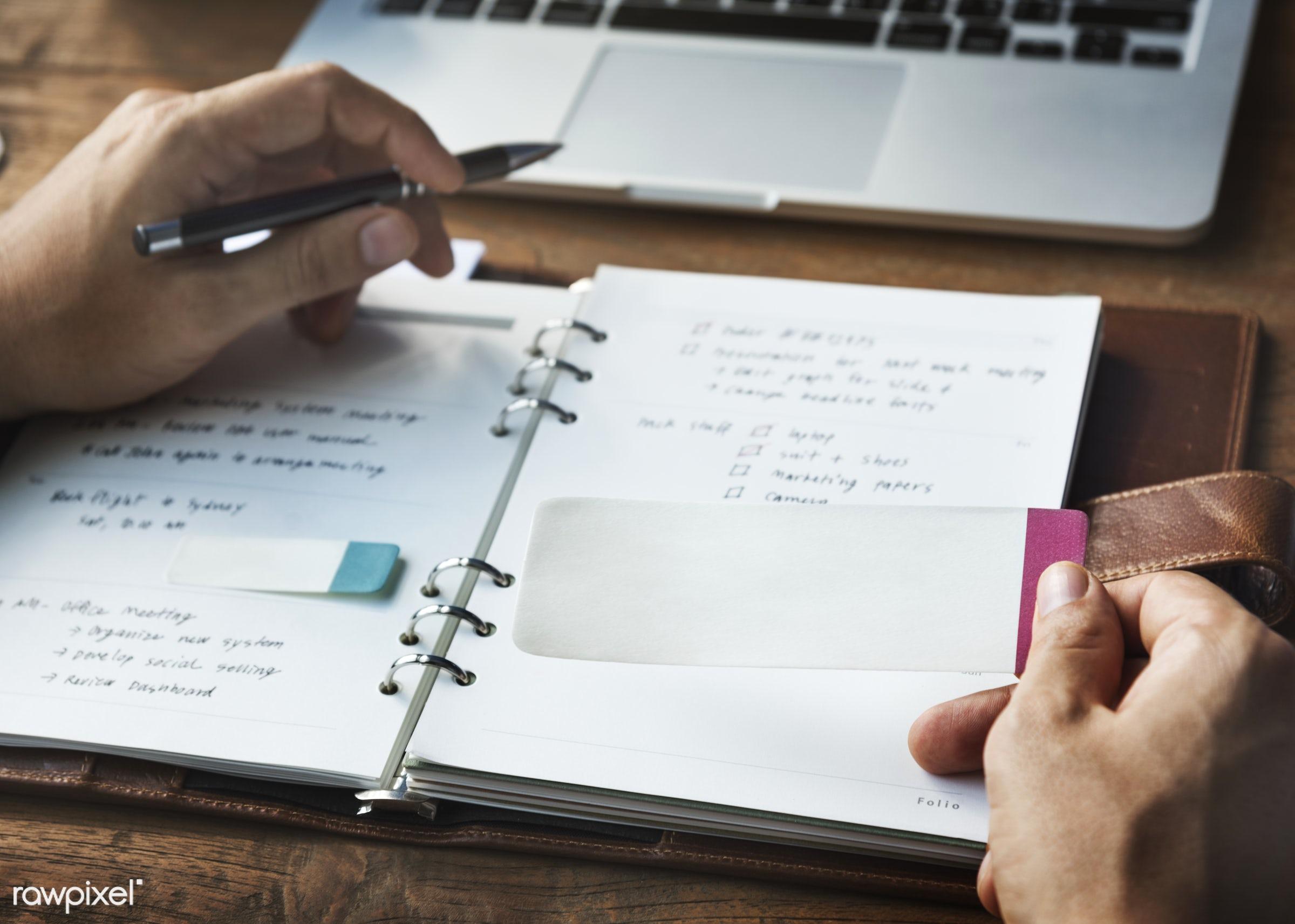 agenda, blank, book, business, businessman, cooperation, data, desk, diary, digital, empty, ideas, information, laptop,...