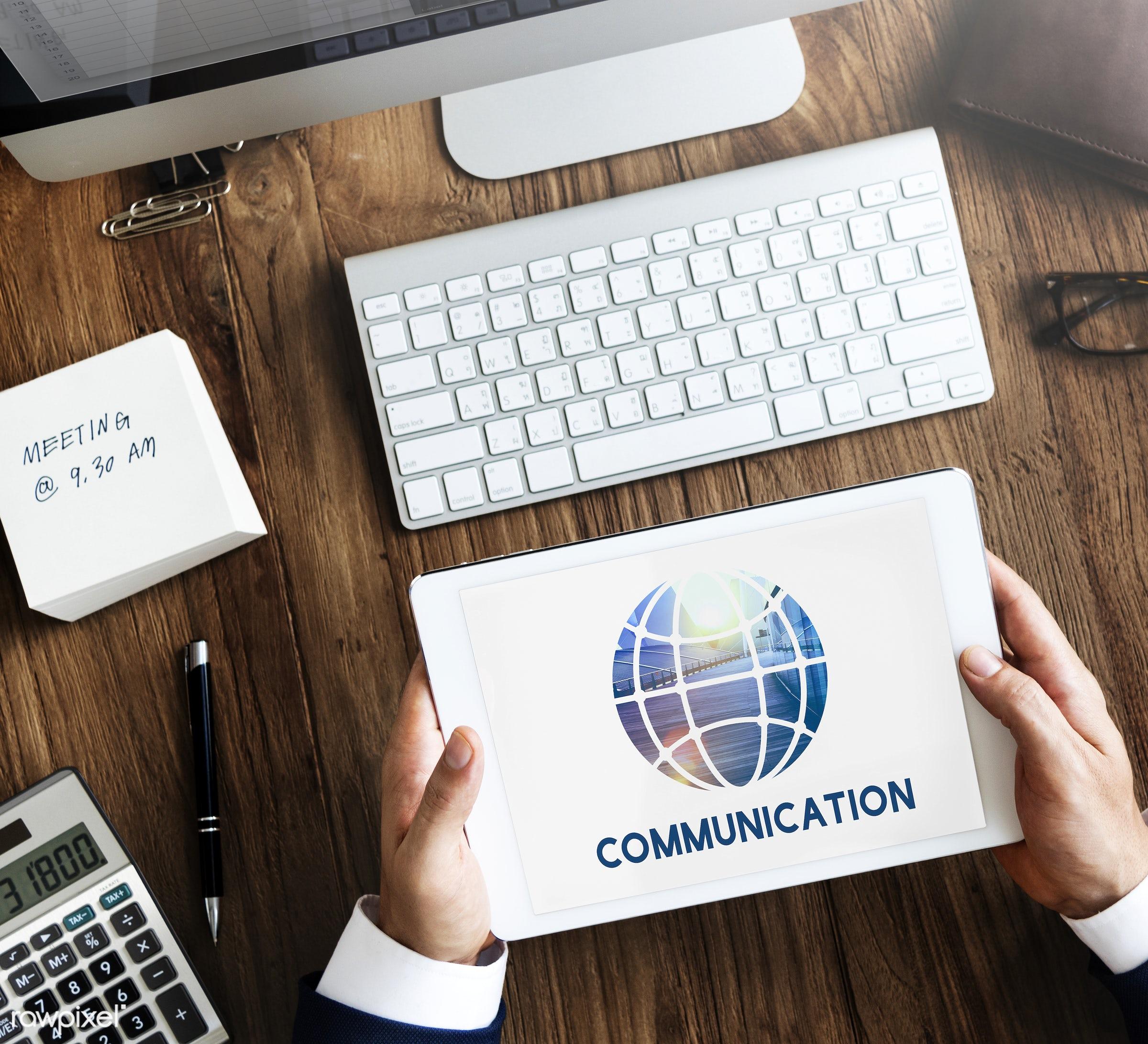 aerial view, blogging, business, businessman, communication, community, concept, connect, connection, contemporary, desk,...