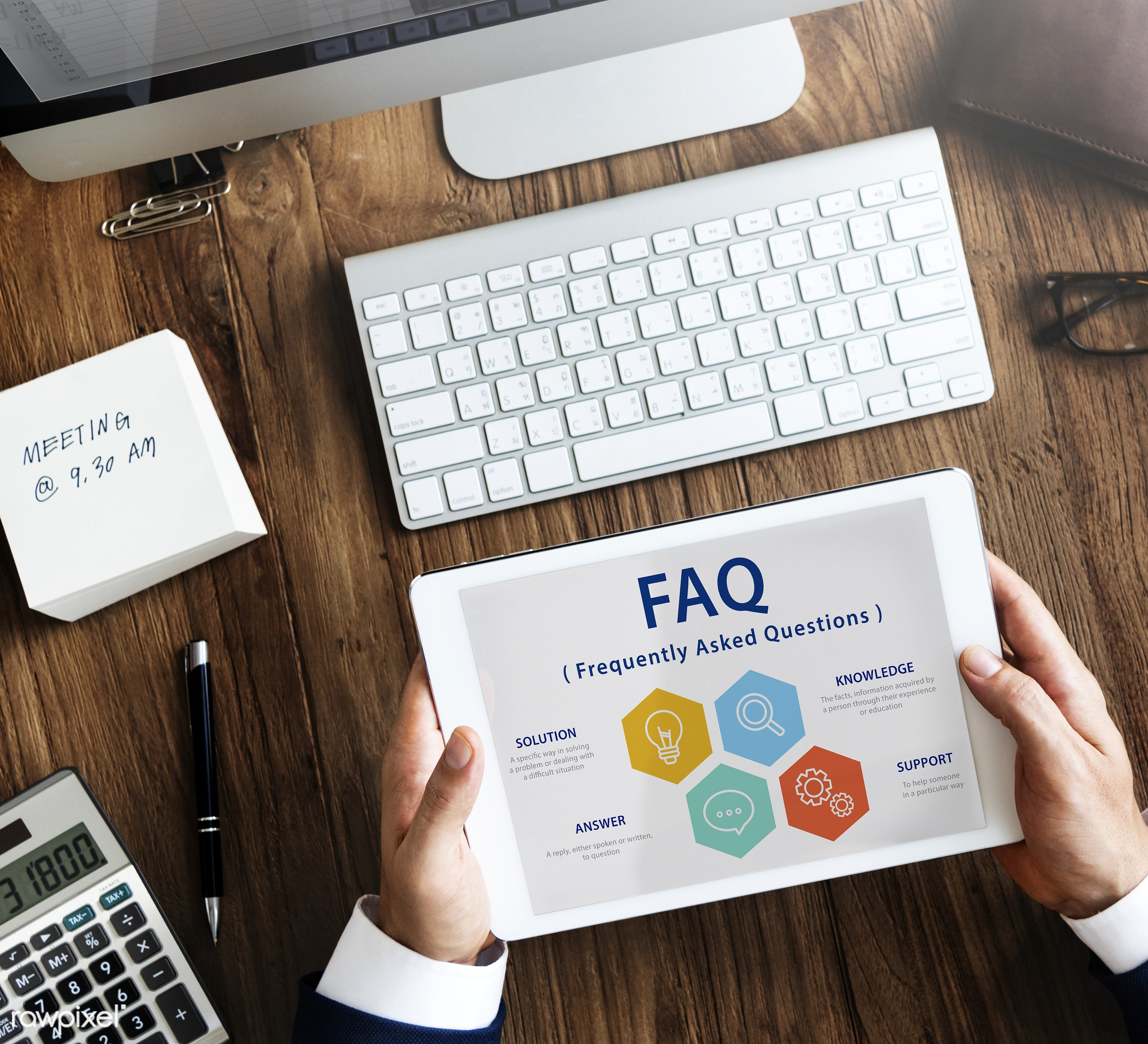 faq, feedback, aerial view, answer, answers, business, businessman, communication, connect, contemporary, desk, digital...