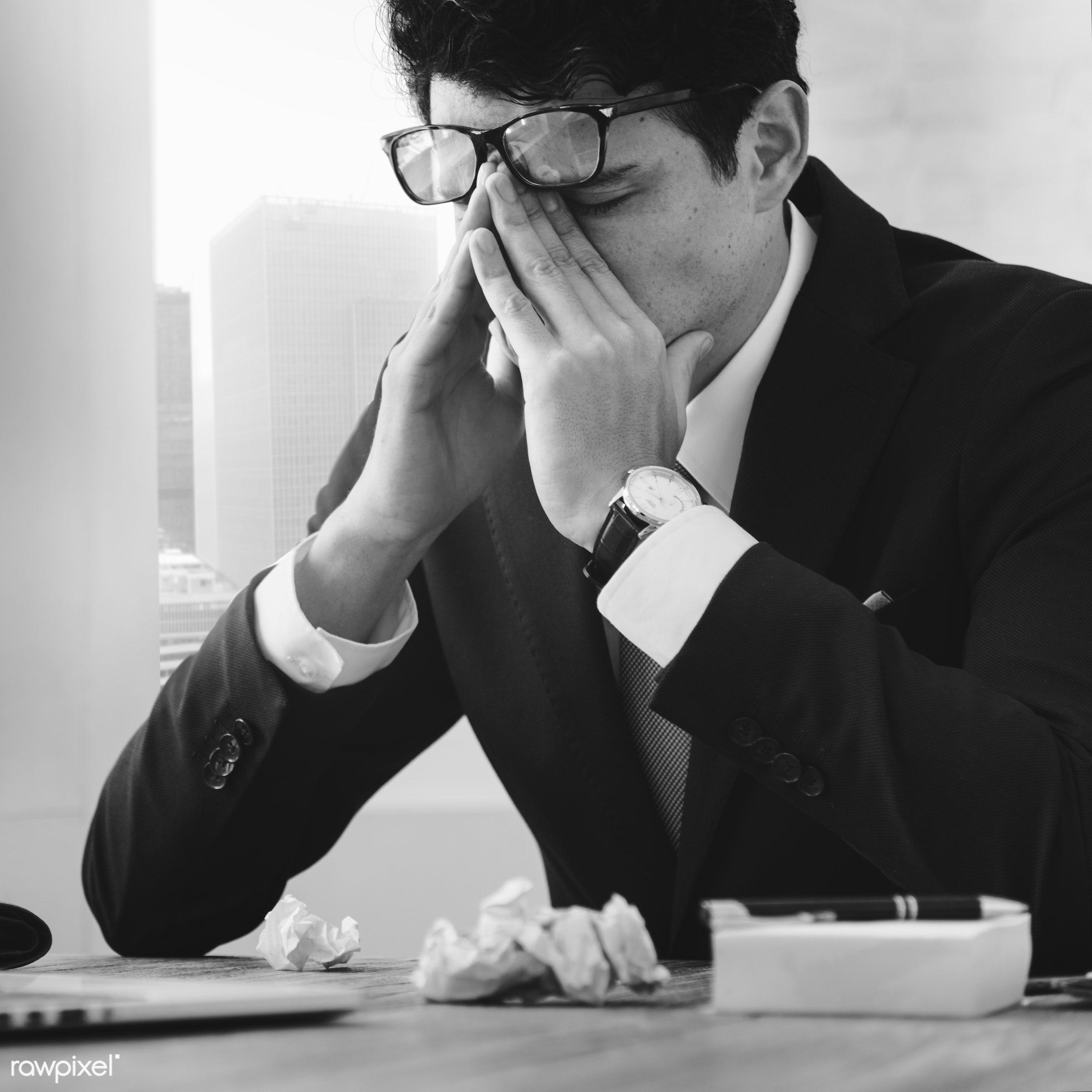 Caucasian businessman in the office shoot - stress, frustration, headache, man, stressed, adult, business, businessman,...