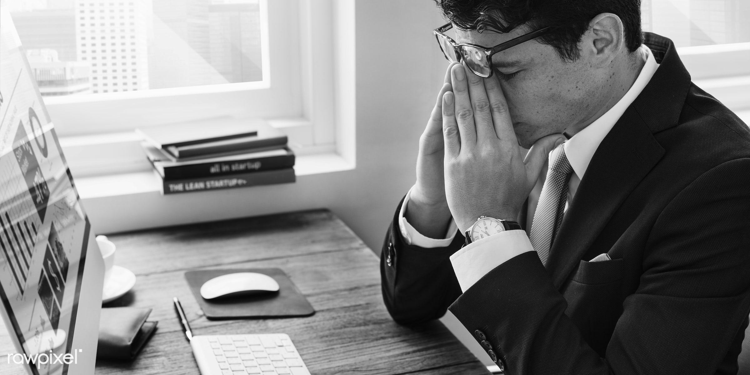 Caucasian businessman in the office shoot - adult, books, business, businessman, career, chart, computer, data, desk,...