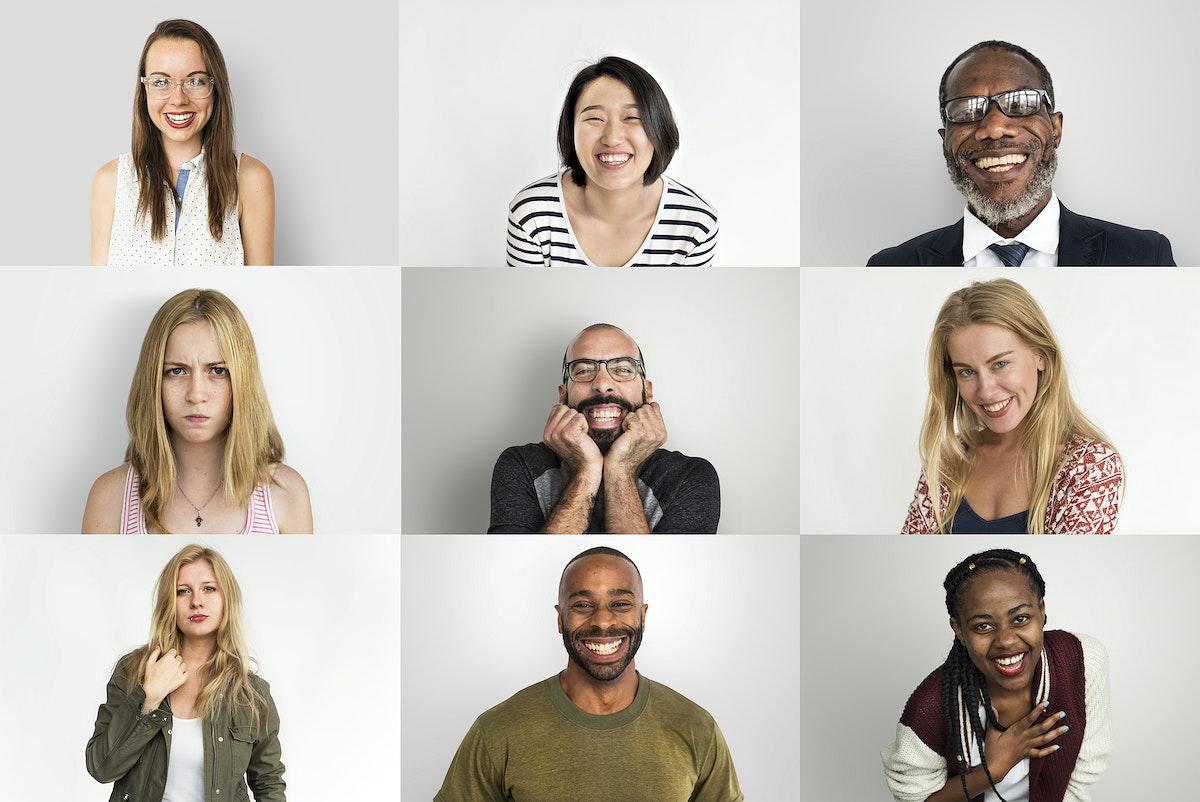 A studio portrait collage of diverse people