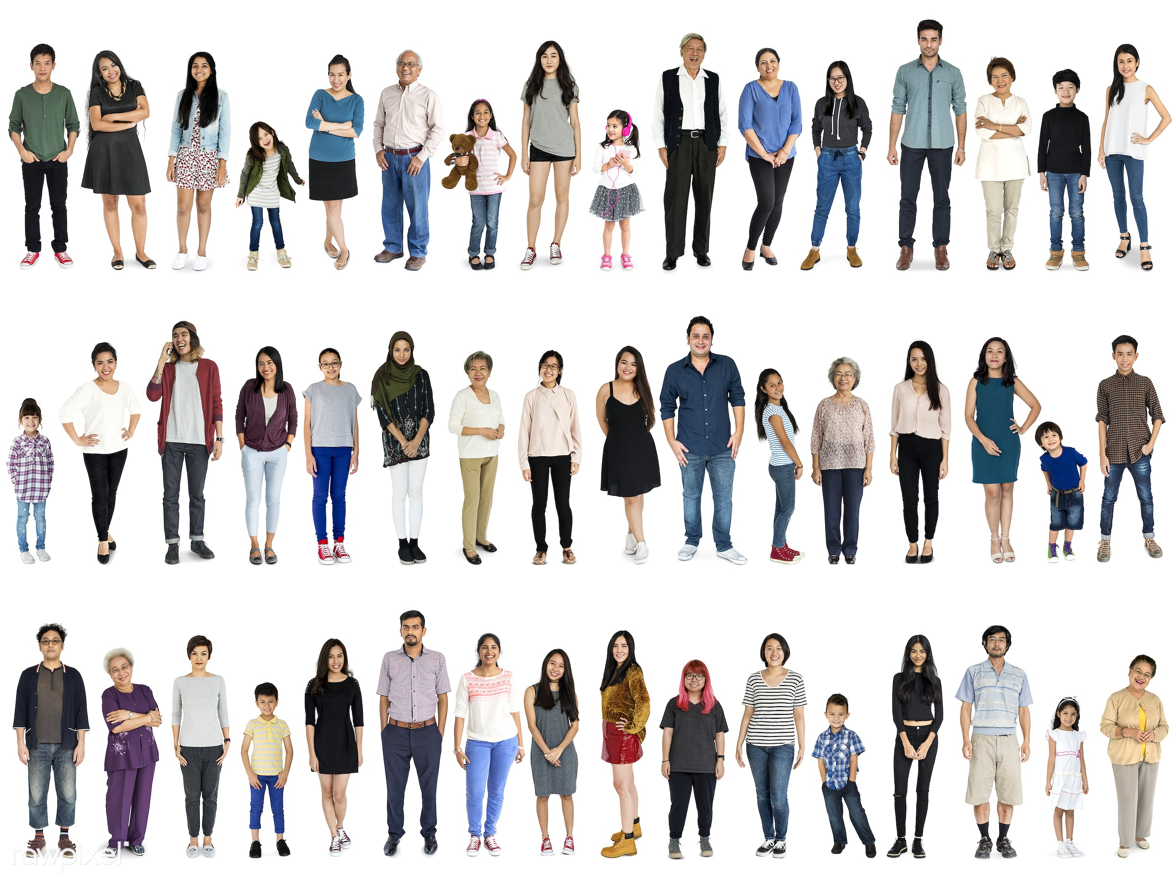 Diverse people set - studio, gentlemen, person, diverse, set, retired, retire, collection, people, together, attraction,...
