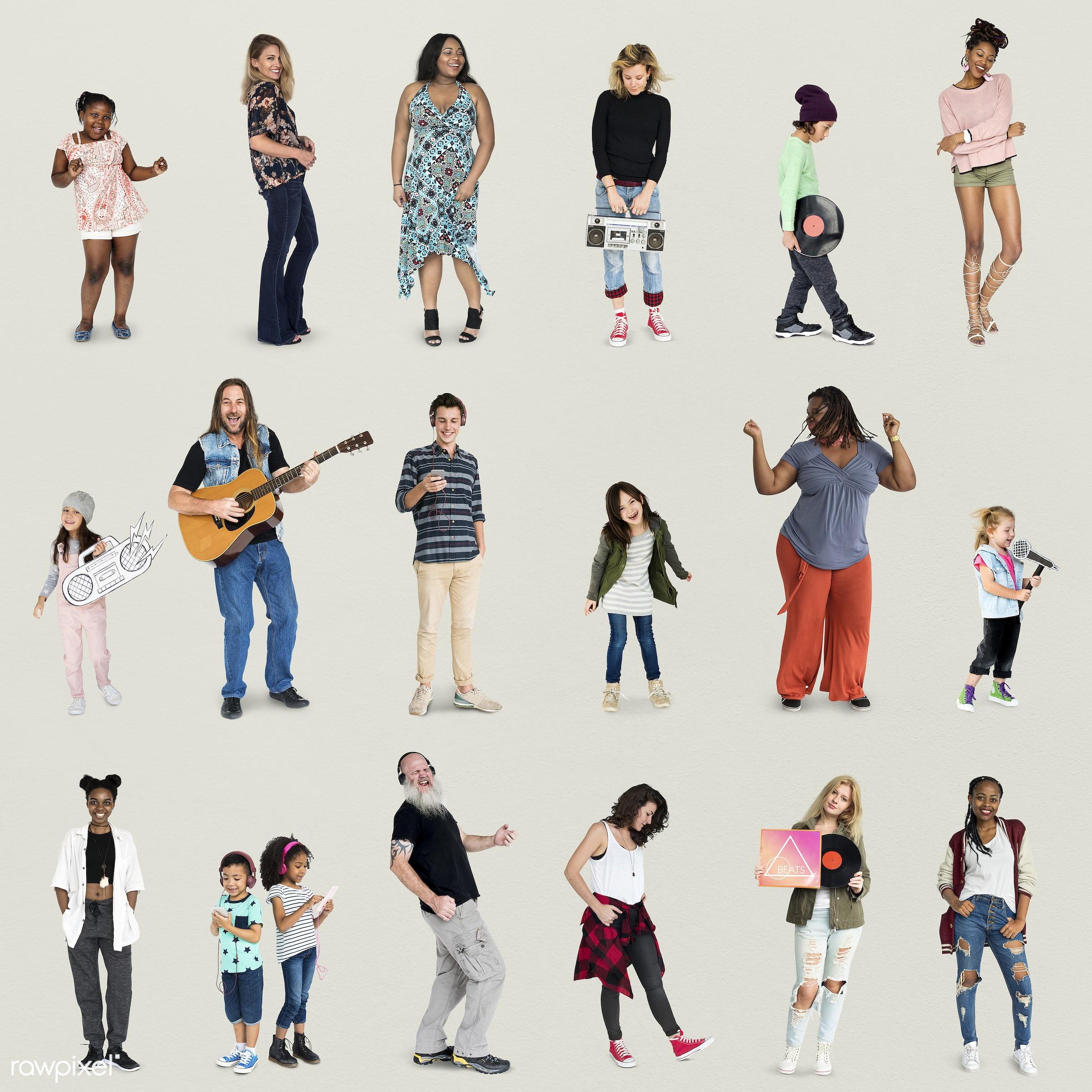 Diverse people set - studio, person, diverse, entertain, recreation, people, caucasian, asian, woman, lifestyle, cheerful,...