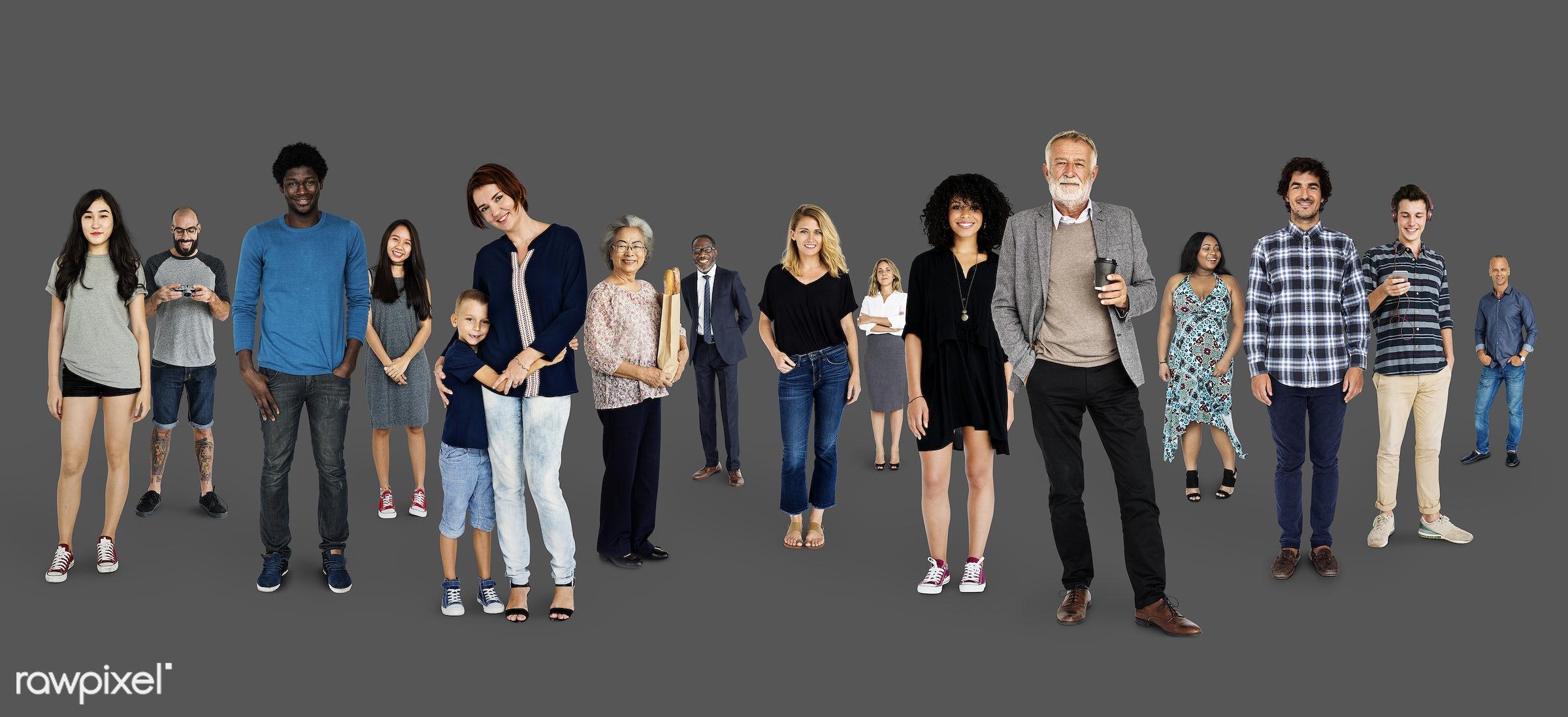 expression, studio, person, diverse, people, together, caucasian, asian, kid, retirement, woman, lifestyle, studio squareset...