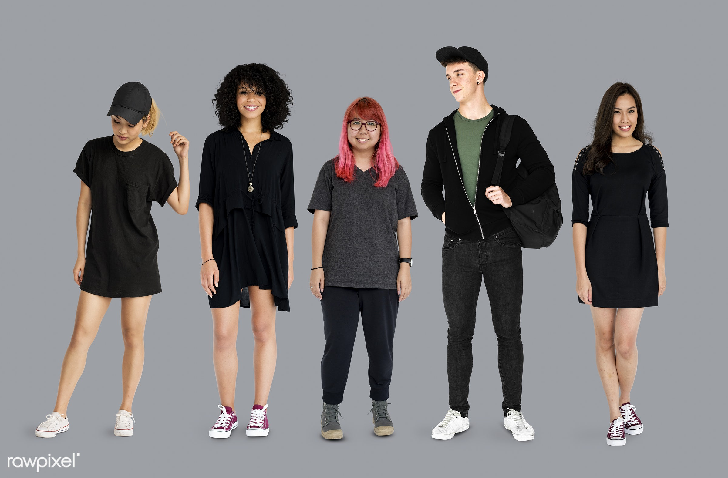 studio, person, diverse, set, millennials, entertain, collection, recreation, pretty, people, teenage, caucasian, asian,...
