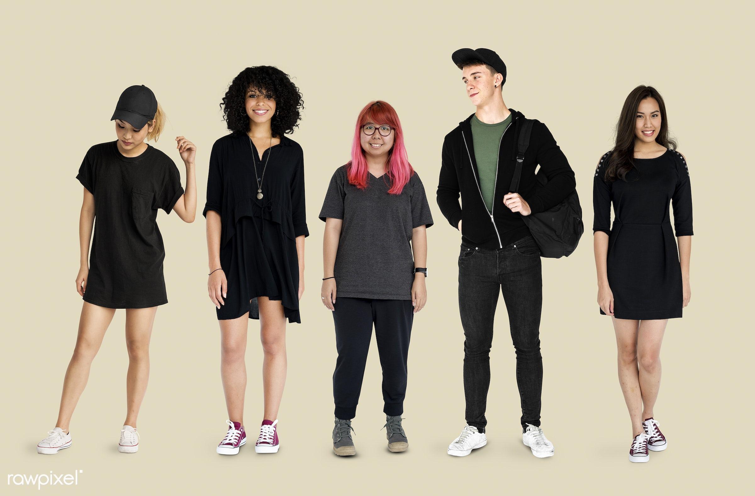 studio, person, diverse, set, millennials, entertain, collection, recreation, pretty, people, teenage, caucasian, asian,...
