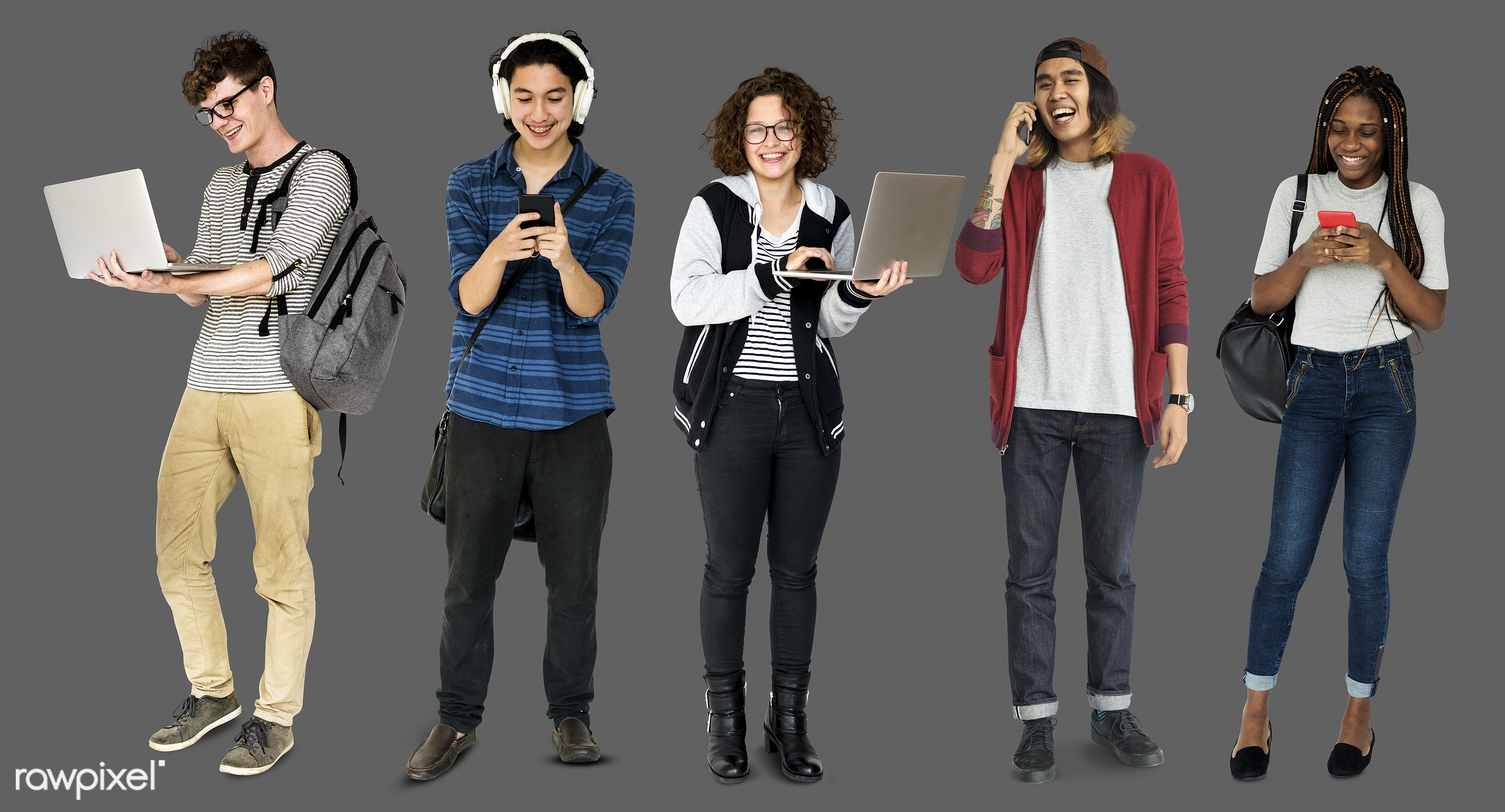 expression, studio, person, phone, technology, diverse, people, asian, caucasian, young adult, woman, social, lifestyle,...