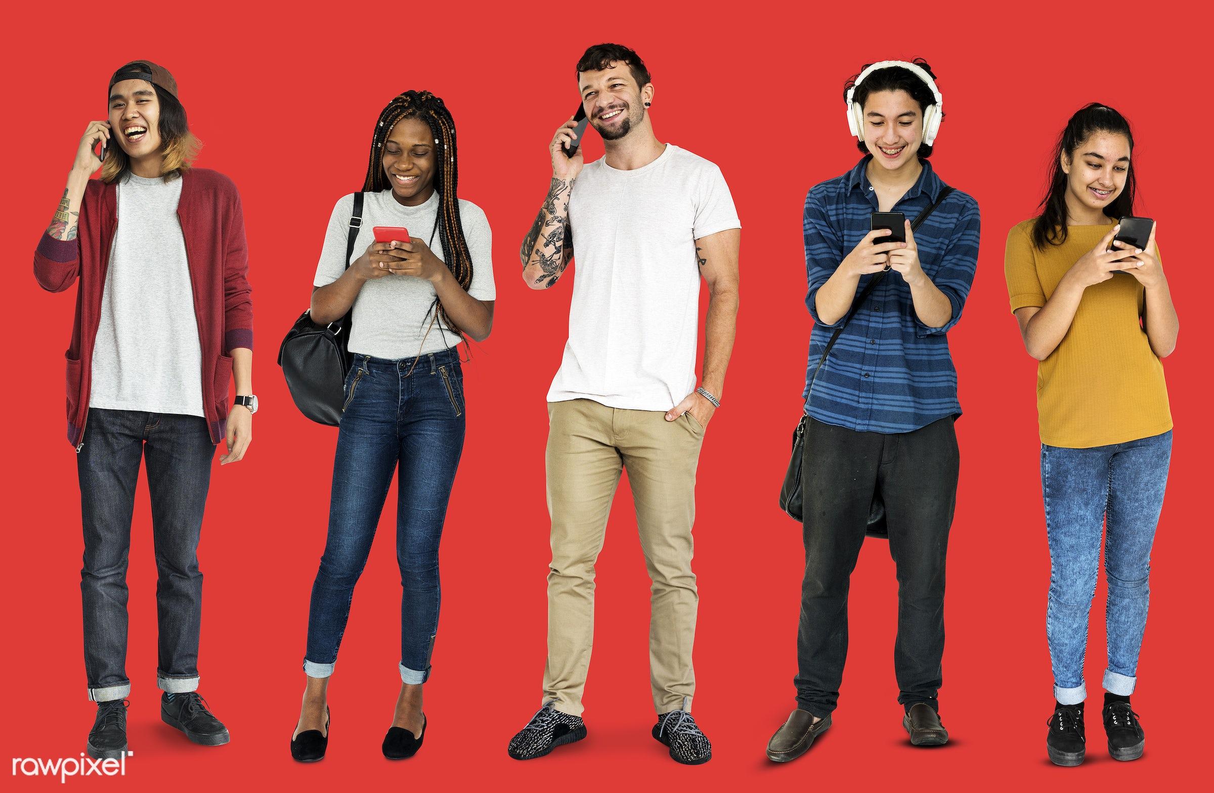using, full length, diverse, people, race, asian, caucasian, woman, social, lifestyle, studio squareset, smart phone,...