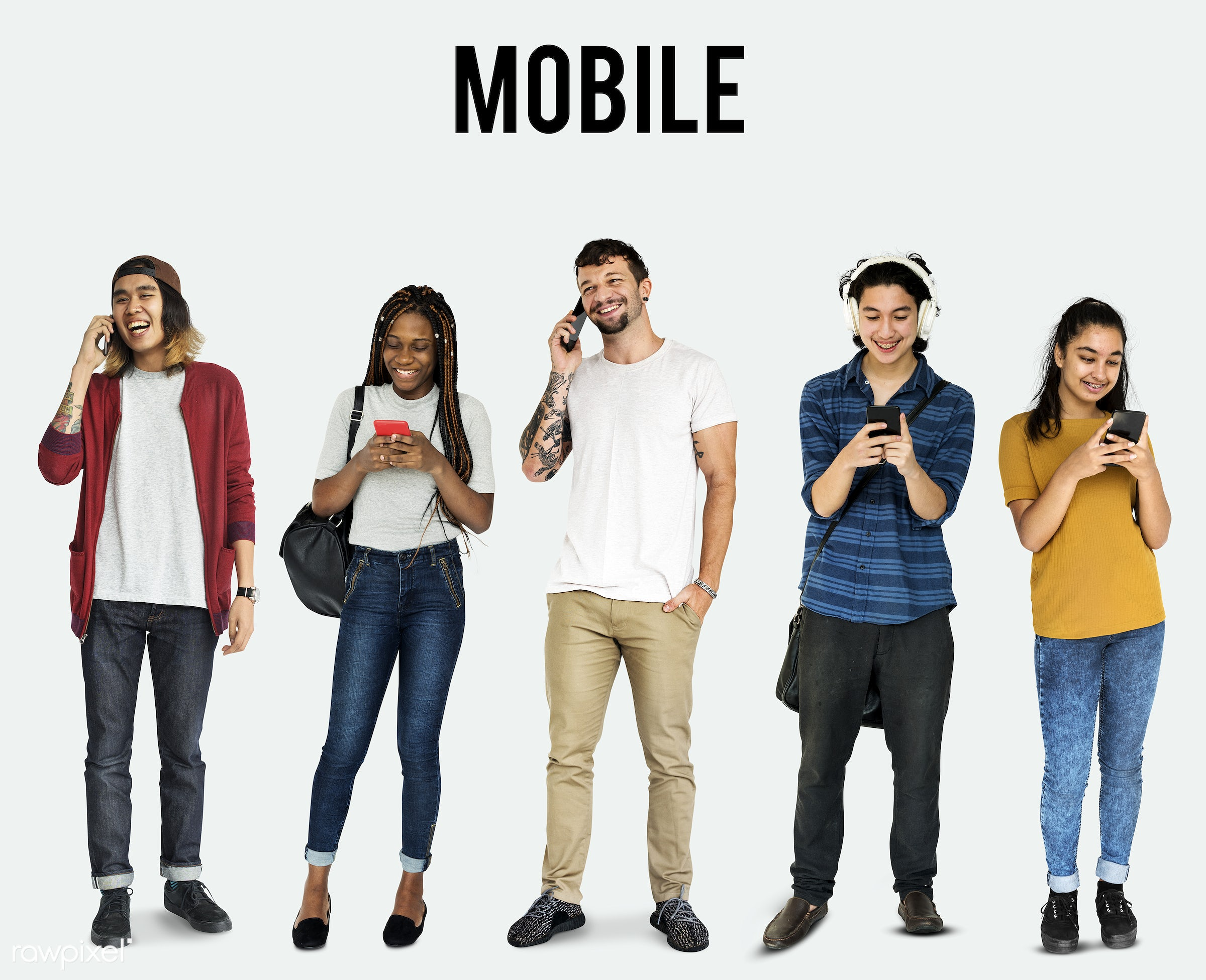 Diverse people set - expression, studio, person, phone, technology, diverse, people, asian, caucasian, young adult, social,...