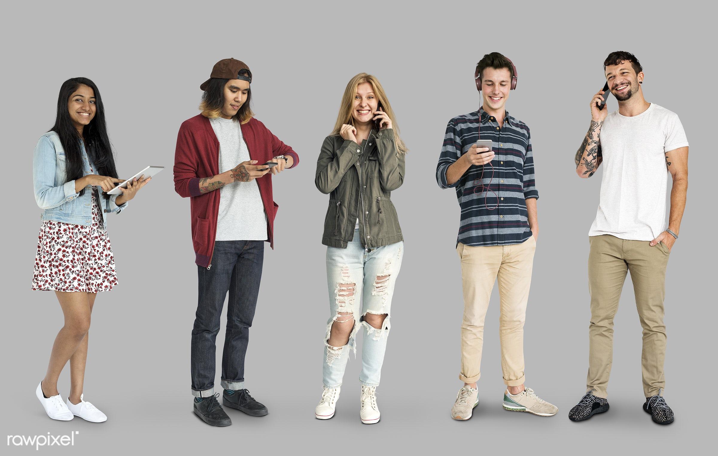 using, full length, diverse, people, race, caucasian, asian, woman, social, lifestyle, studio squareset, smart phone,...