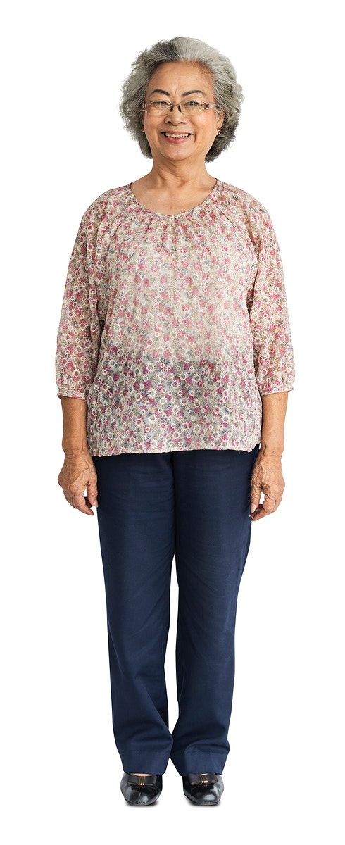 Casual senior adult standing smiling