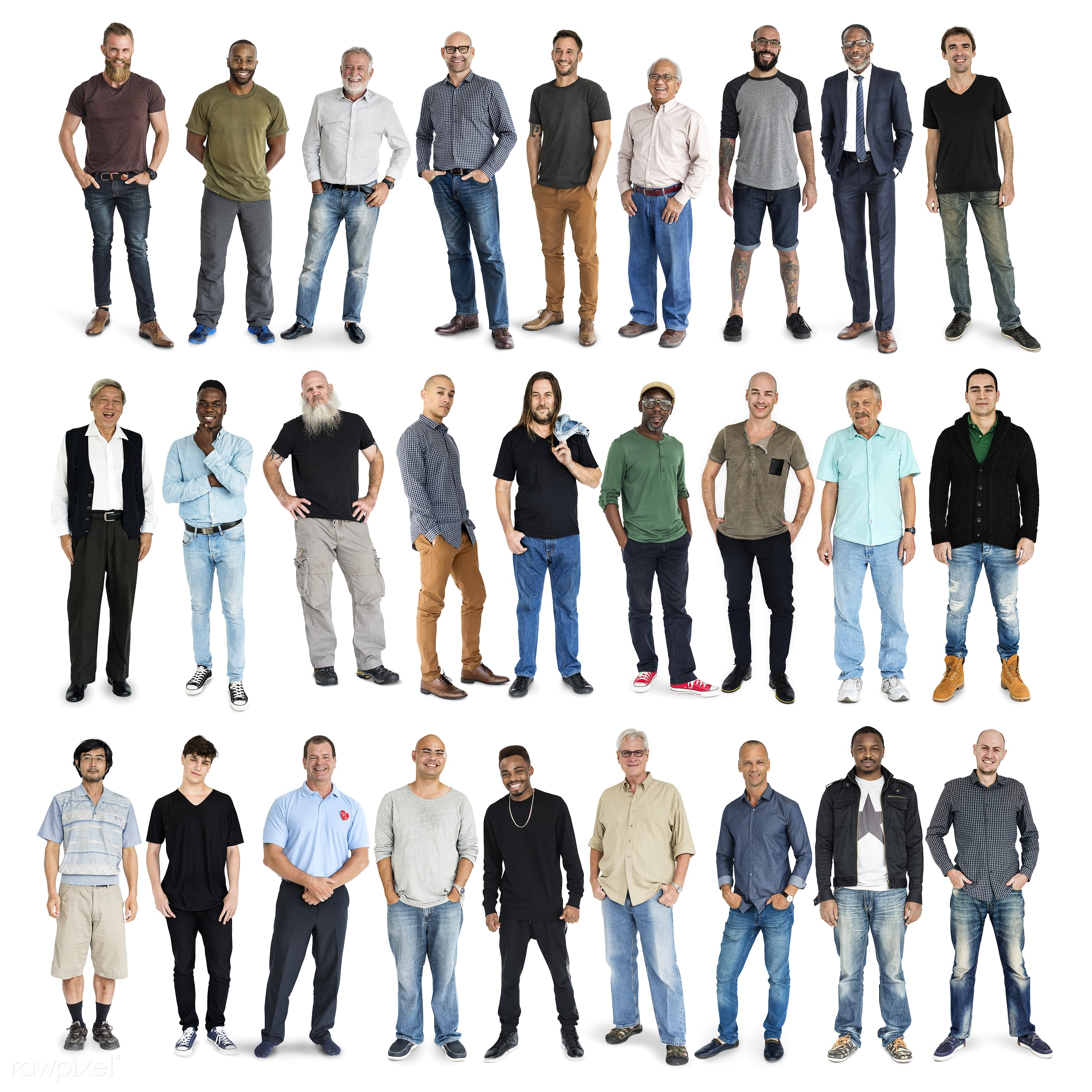 Diverse people set - gentlemen, studio, person, diverse, set, retired, little, collection, people, attraction, together,...