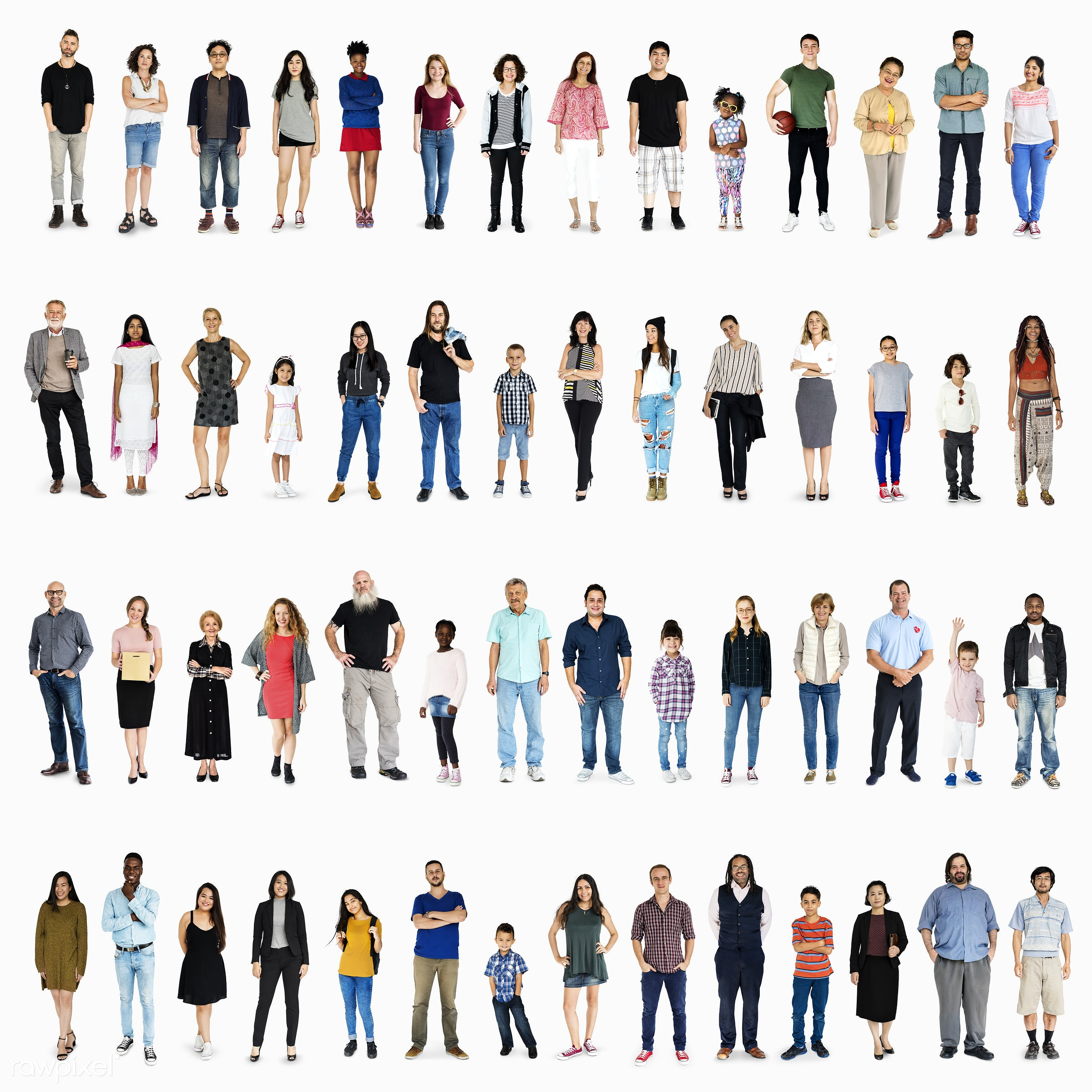 expression, studio, person, diverse, ç\diversity people set gesture standing together studio isolated, people, together,...