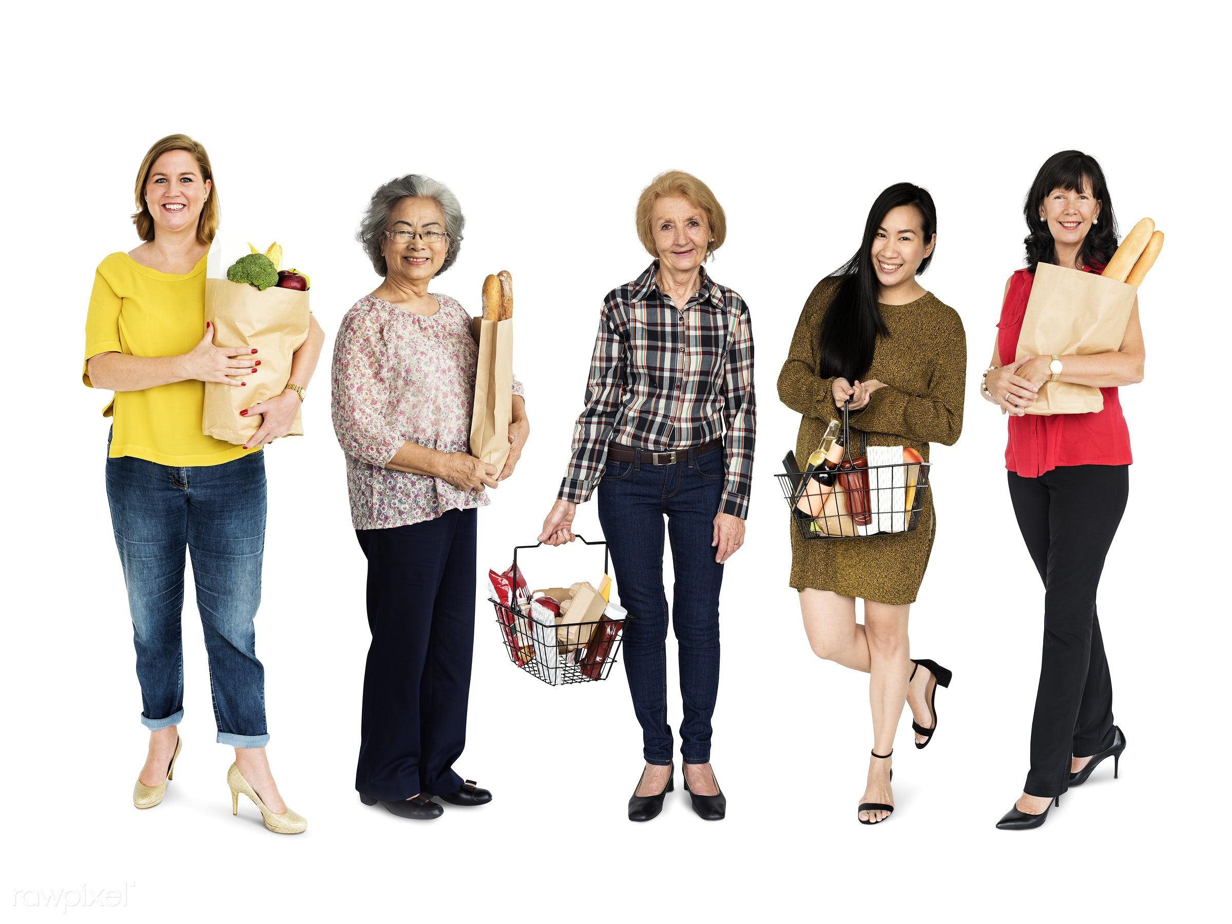 Diverse people set - grocery, studio, person, supermarket, store, buy, isolated on white, fresh food, people, grocery store...