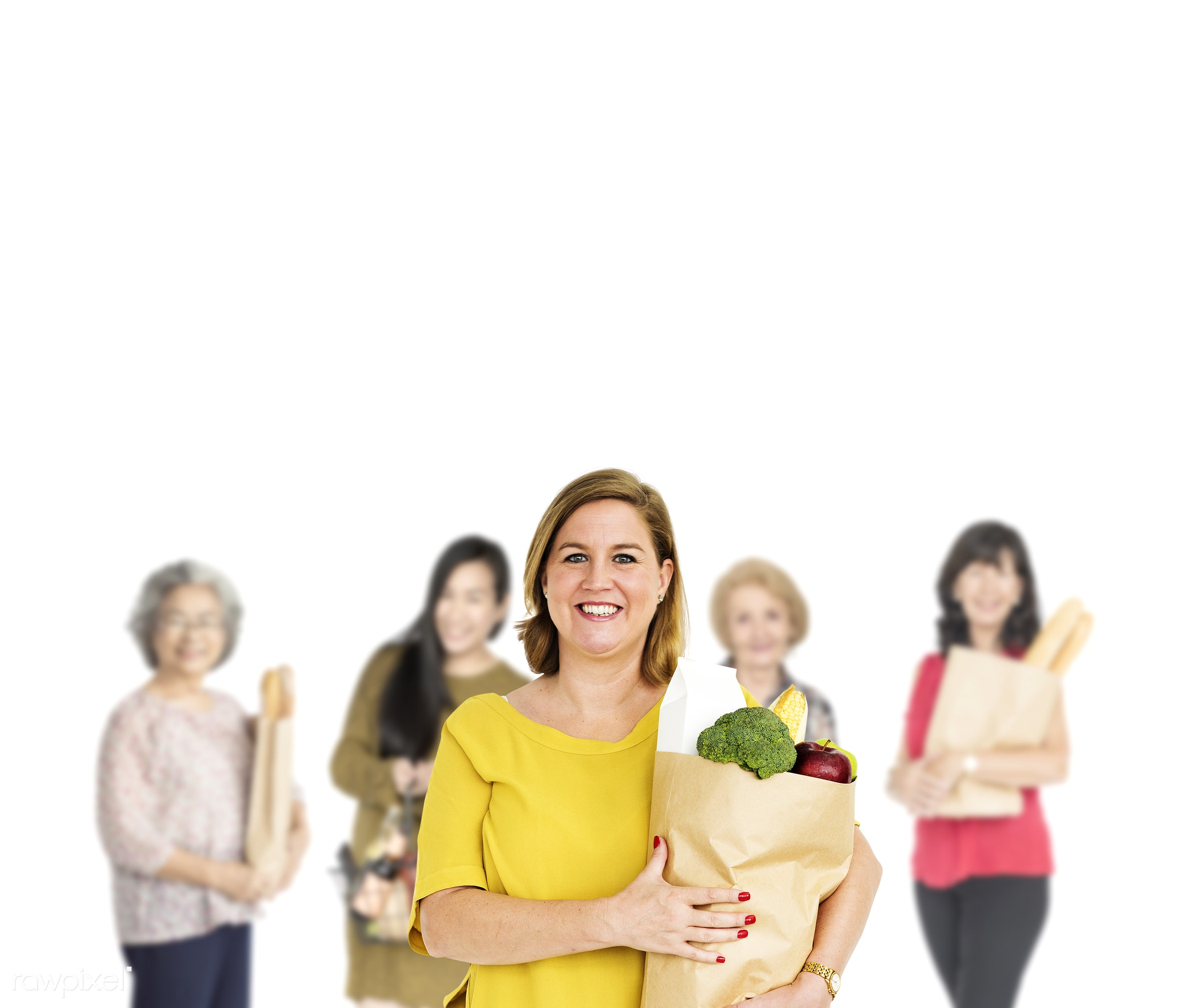 grocery, studio, person, supermarket, store, buy, isolated on white, fresh food, people, grocery store, fresh, woman,...