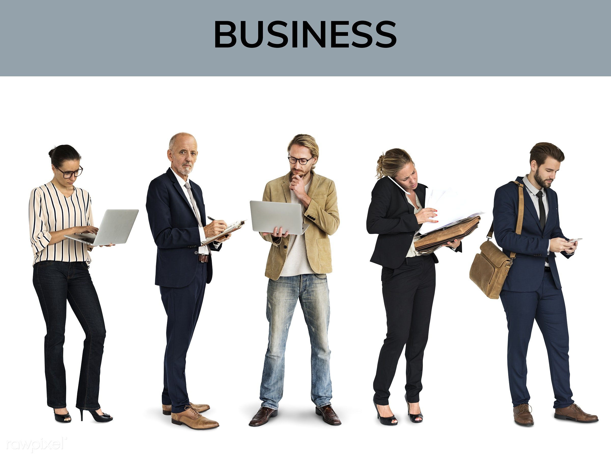 Diverse people set - adult, business, businessman, businessmen, businesswoman, businesswomen, career, cheerful, collection,...