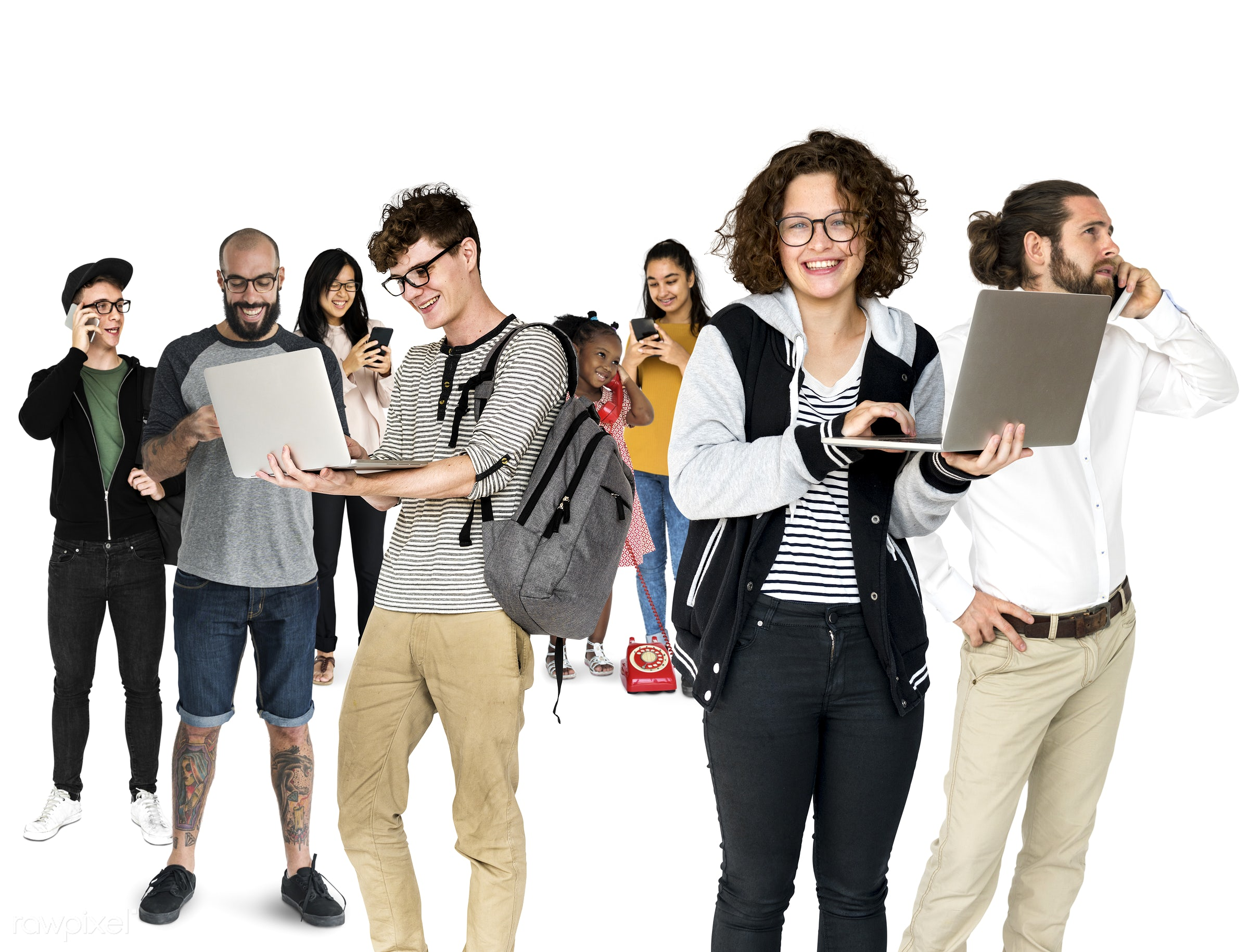 expression, studio, person, phone, technology, diverse, people, together, asian, caucasian, woman, lifestyle, laptop, studio...