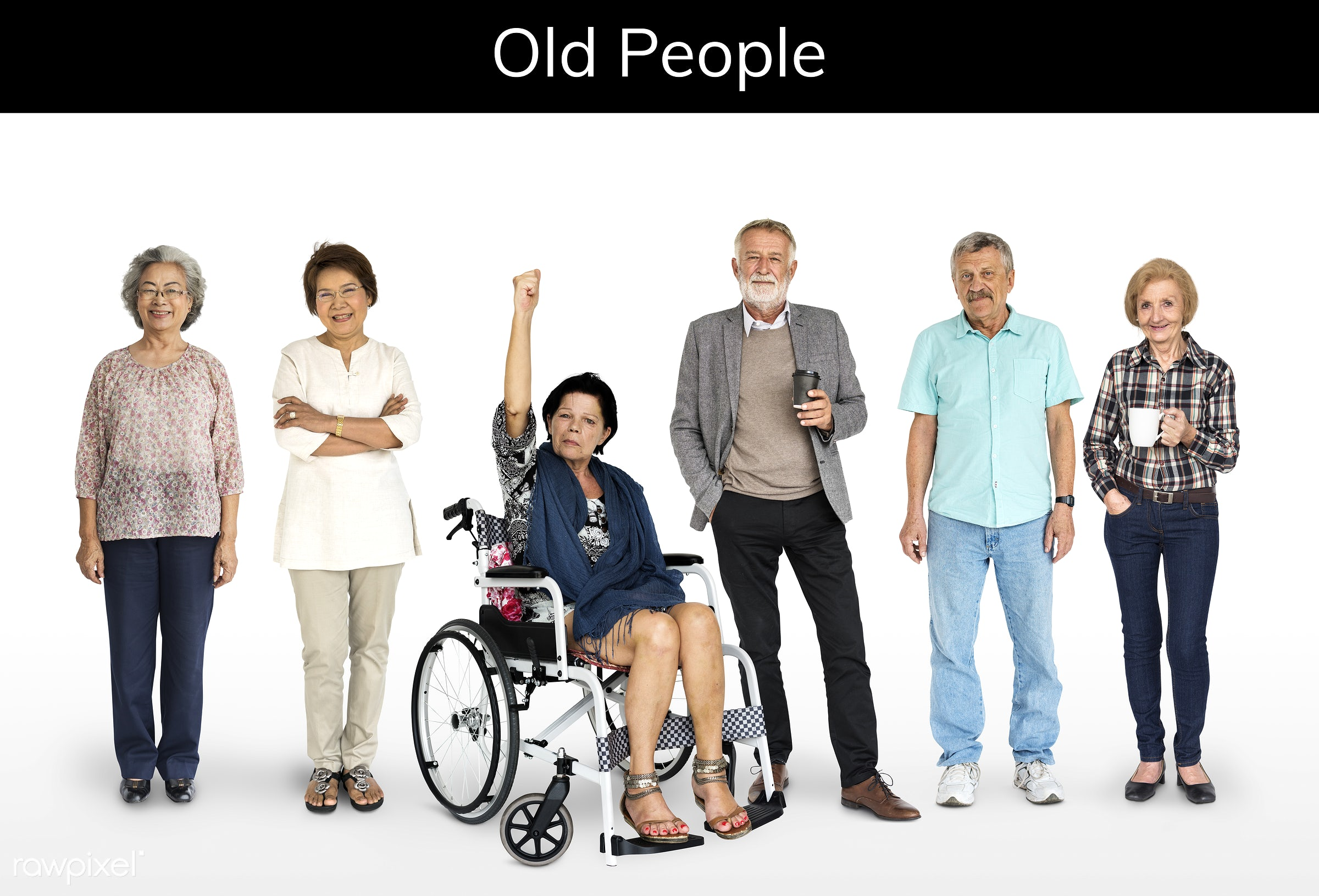 studio, old, person, diverse, set, retired, retire, collection, people, together, asian, retirement, life, woman, lifestyle...