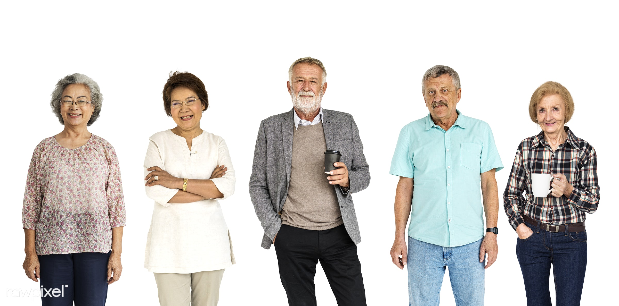 studio, old, person, diverse, set, retired, retire, collection, people, together, caucasian, asian, retirement, life, woman...