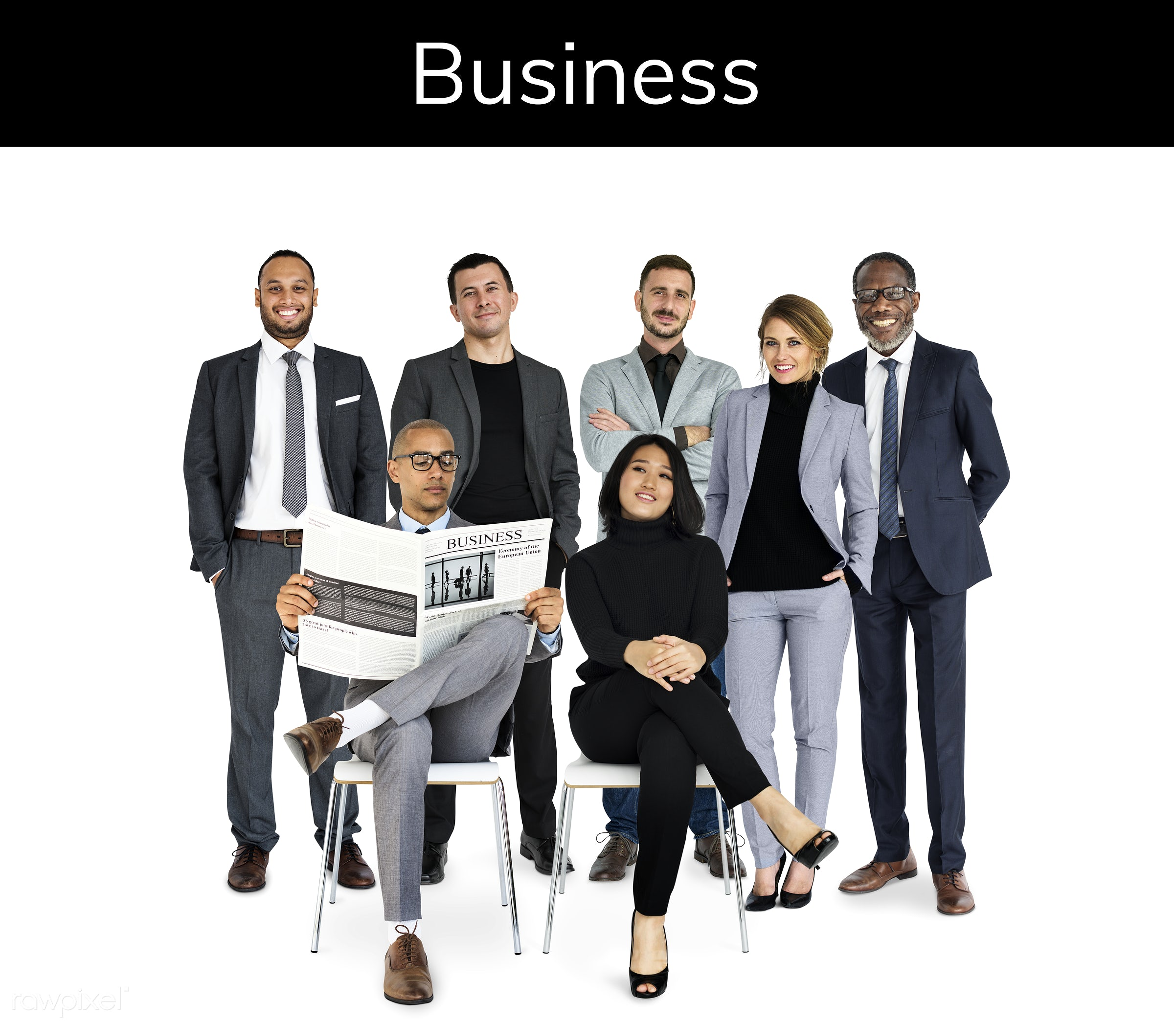 Diverse people set - adult, african descent, asian, business, businessman, businessmen, businesswoman, businesswomen, career...