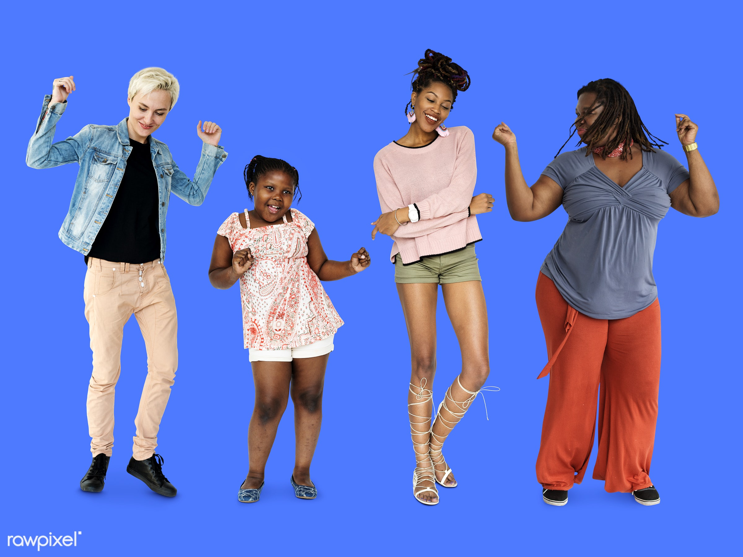 full length, diverse, relax, people, race, positivity, caucasian, asian, woman, lifestyle, movement, studio squareset,...