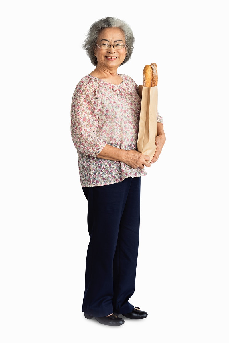 Senior adult woman holding a bag of bread