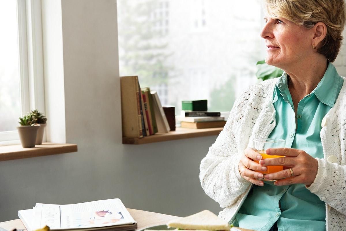 Senior Woman Relax Morning Breakfast Concept