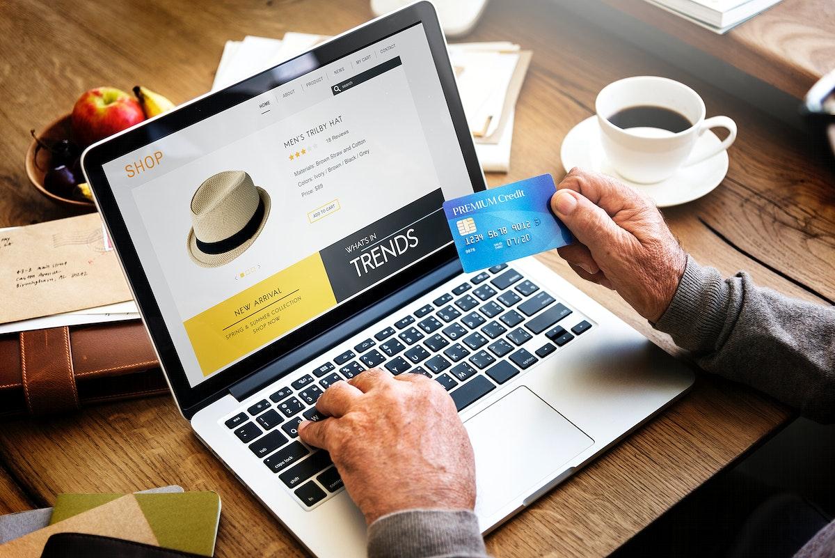 Senior man shopping online