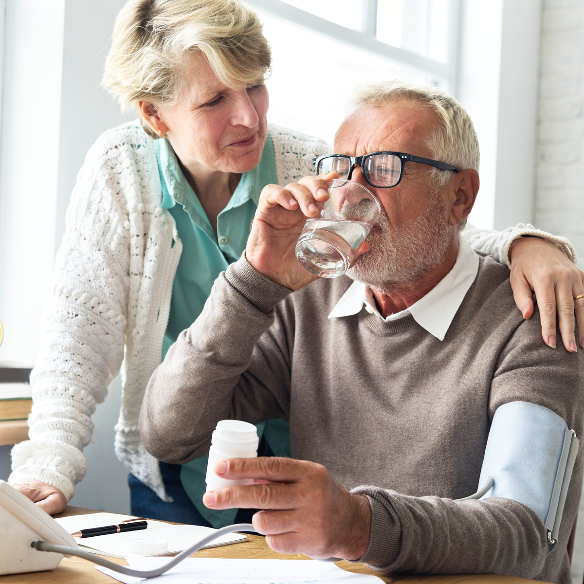 Senior couple with health issues