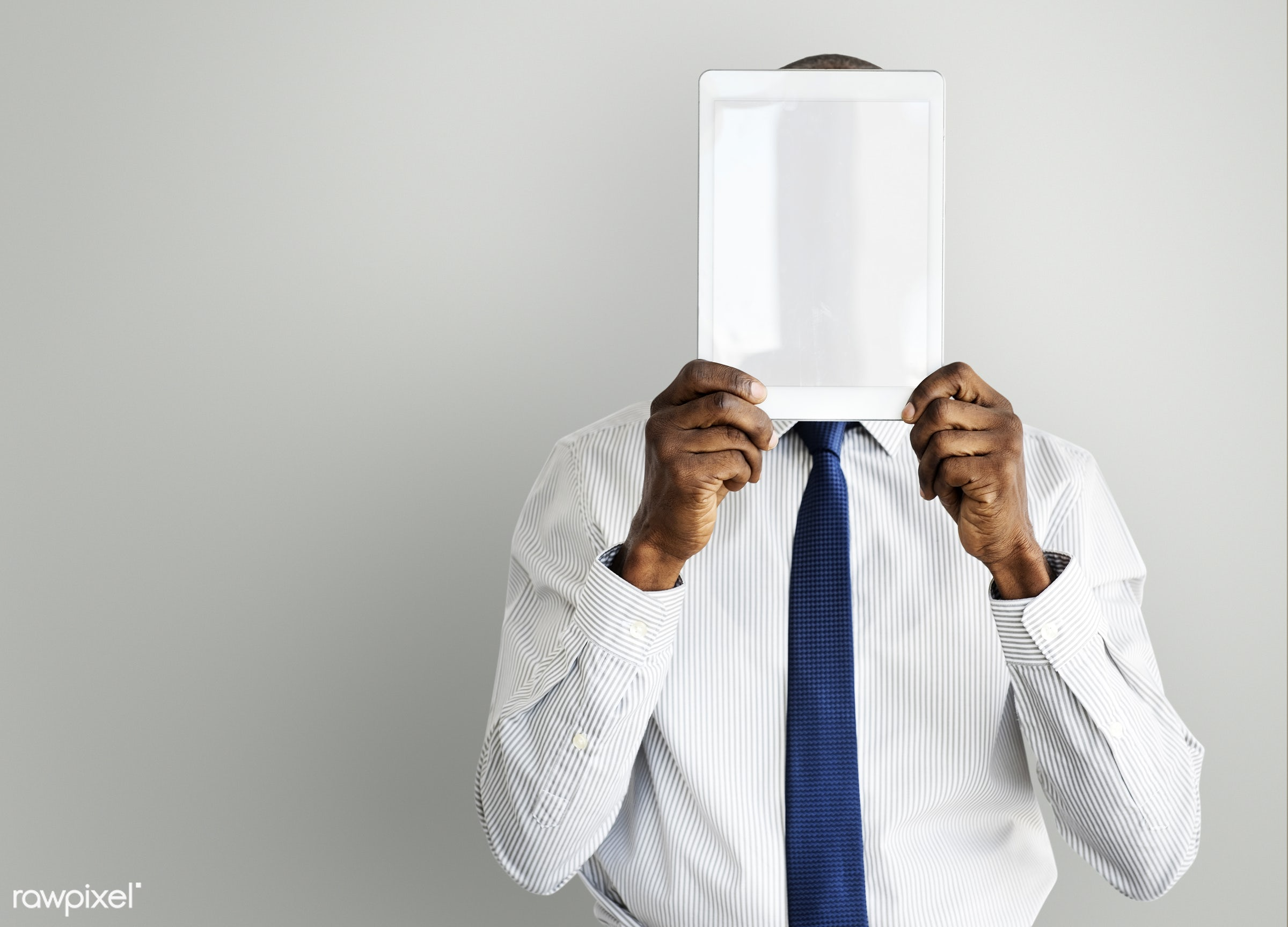 african, african descent, african man, blank, business, casual, copy space, covered, covered face, covering, digital tablet...
