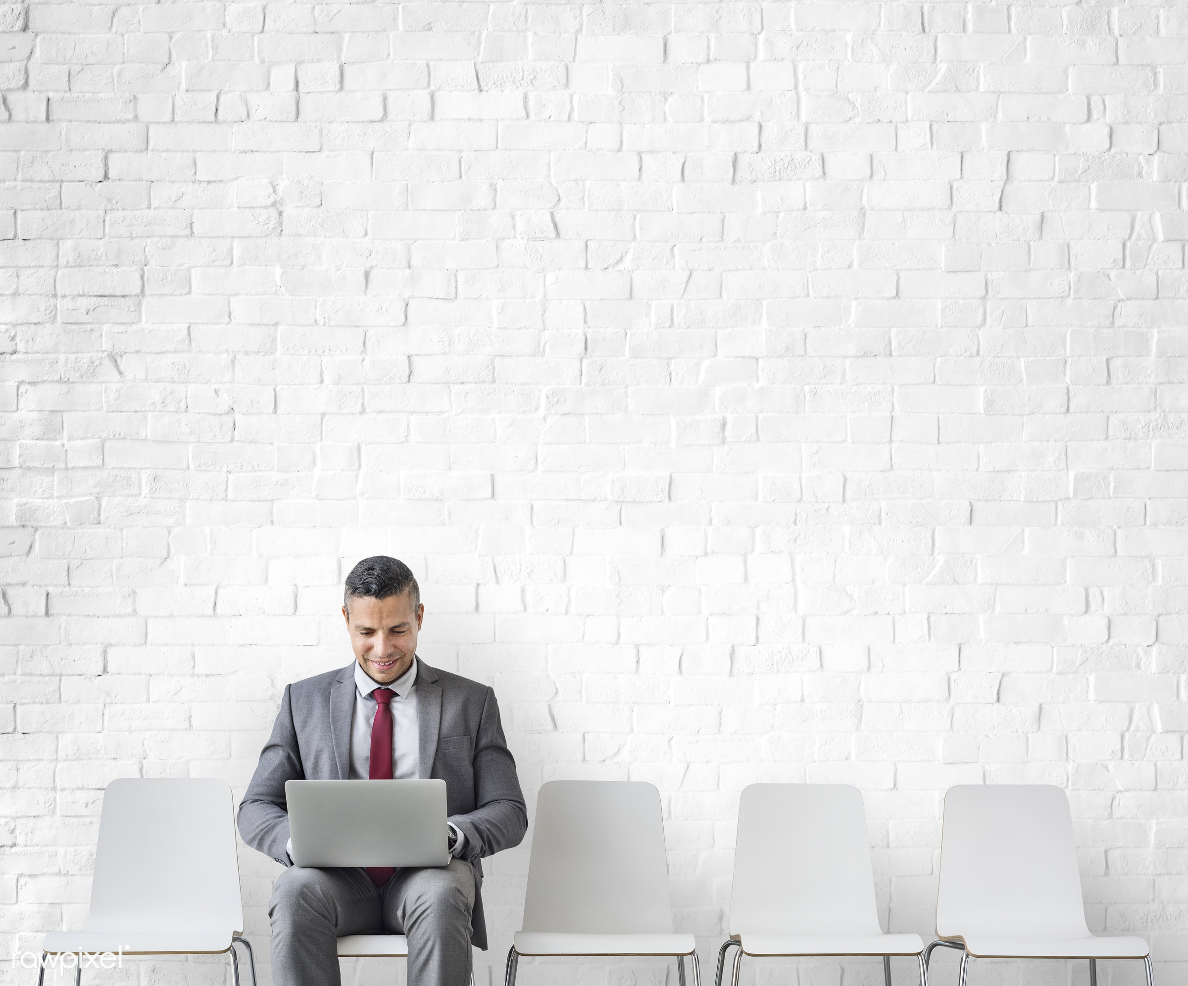 Businessman Using Laptop Connection Communication Concept - copy space, alone, business, career, chairs, computer, design...