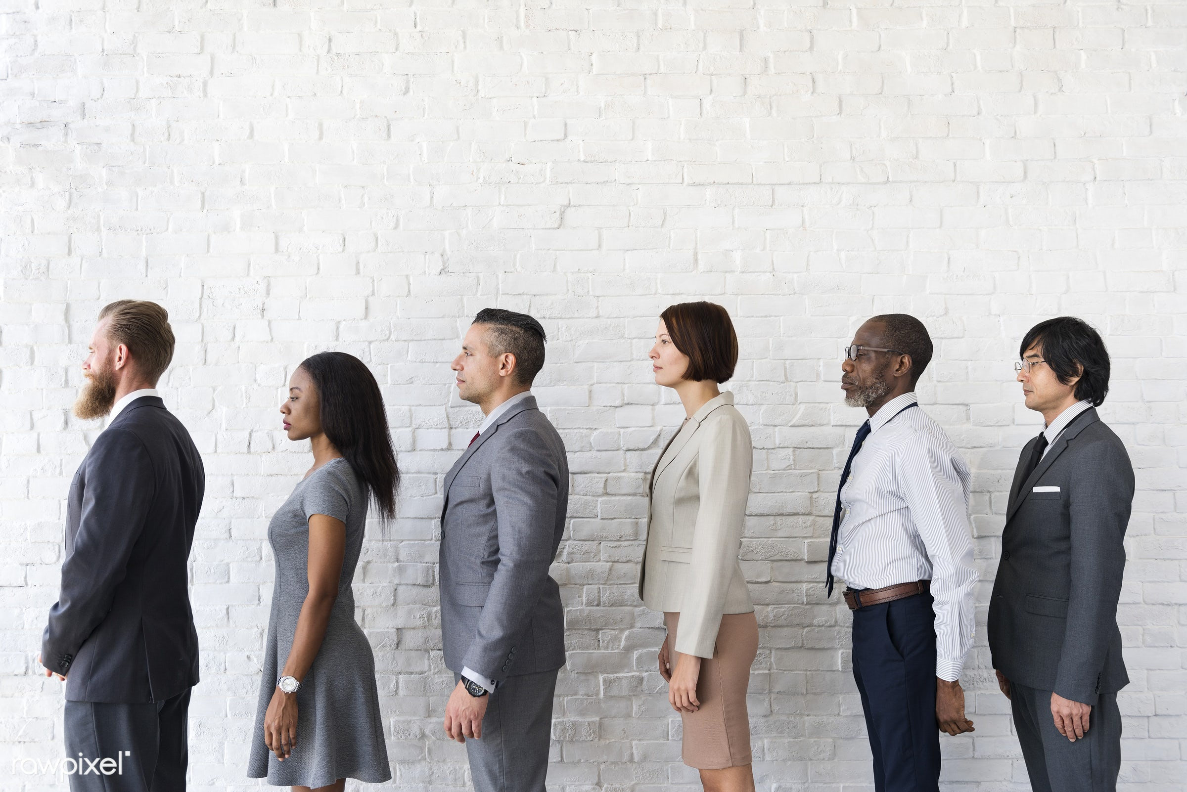 african descent, asian, brick wall, business, communication, connection, diverse, diversity, employer, hurry, job, line up,...