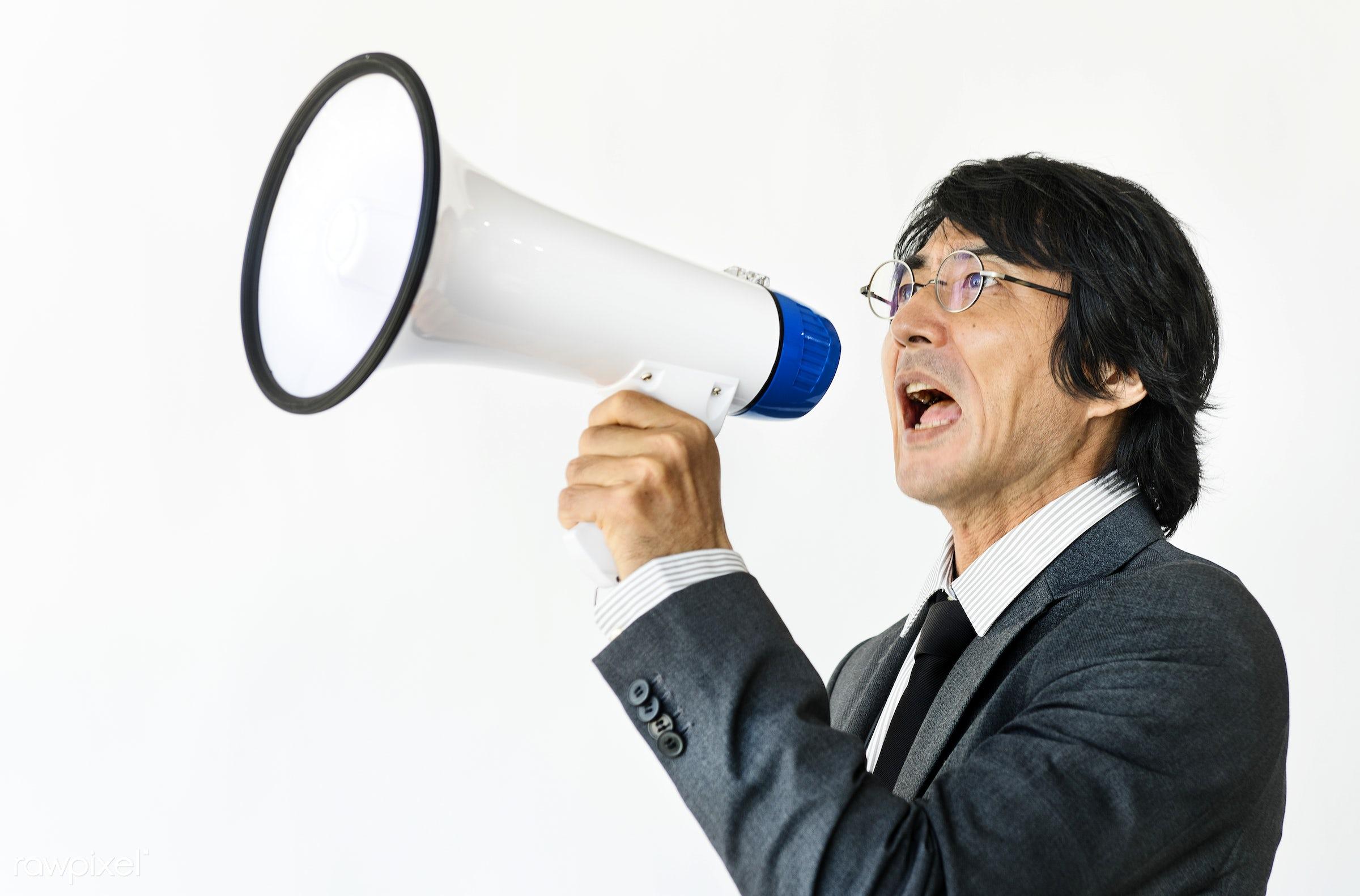 Business man holding megaphone announcement - speaker, announce, speak, advertisement, announcement, asian, bullhorn,...