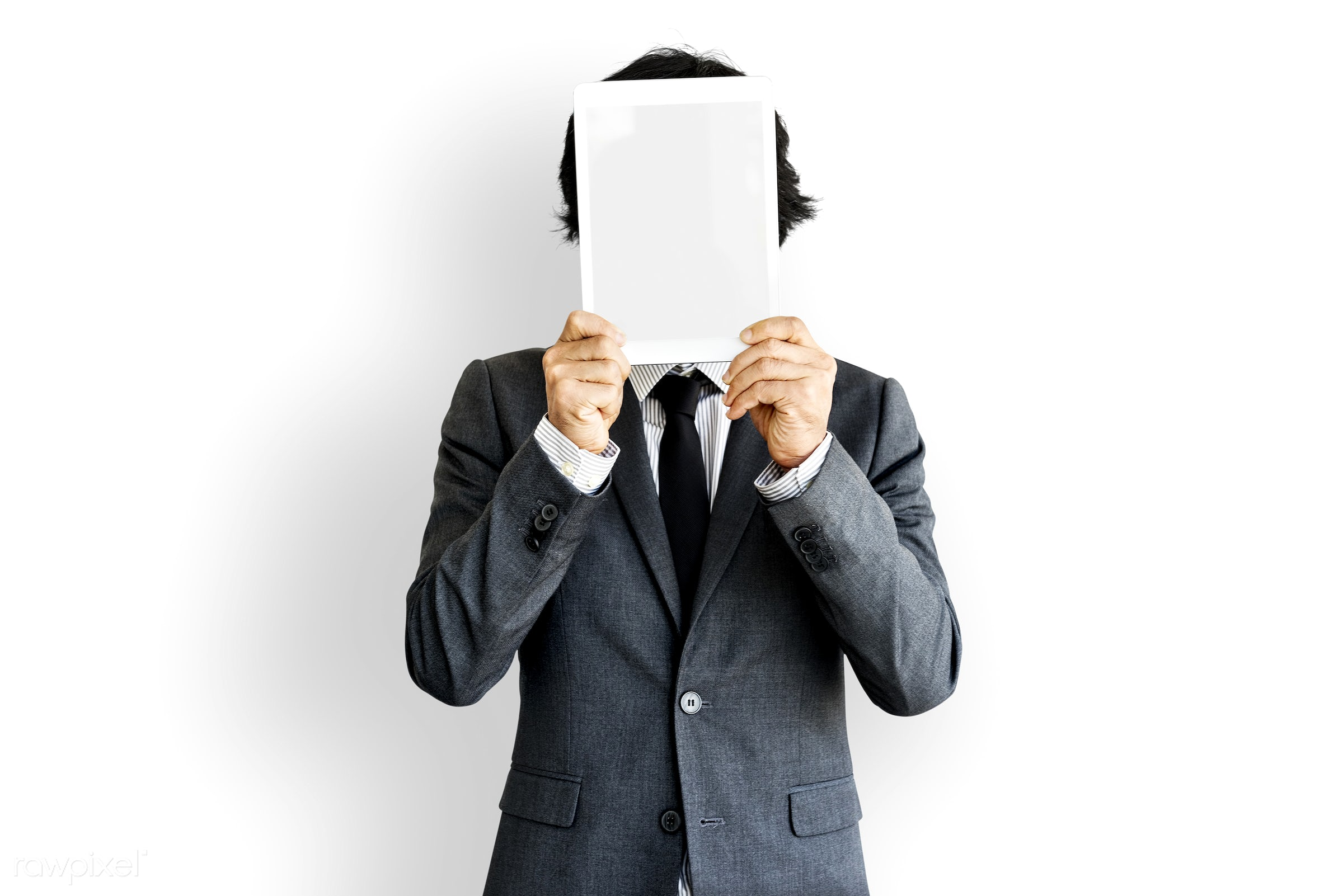blank, business, casual, copy space, covered, covered face, covering, digital tablet, gadget, hidden, holding, isolated, man...