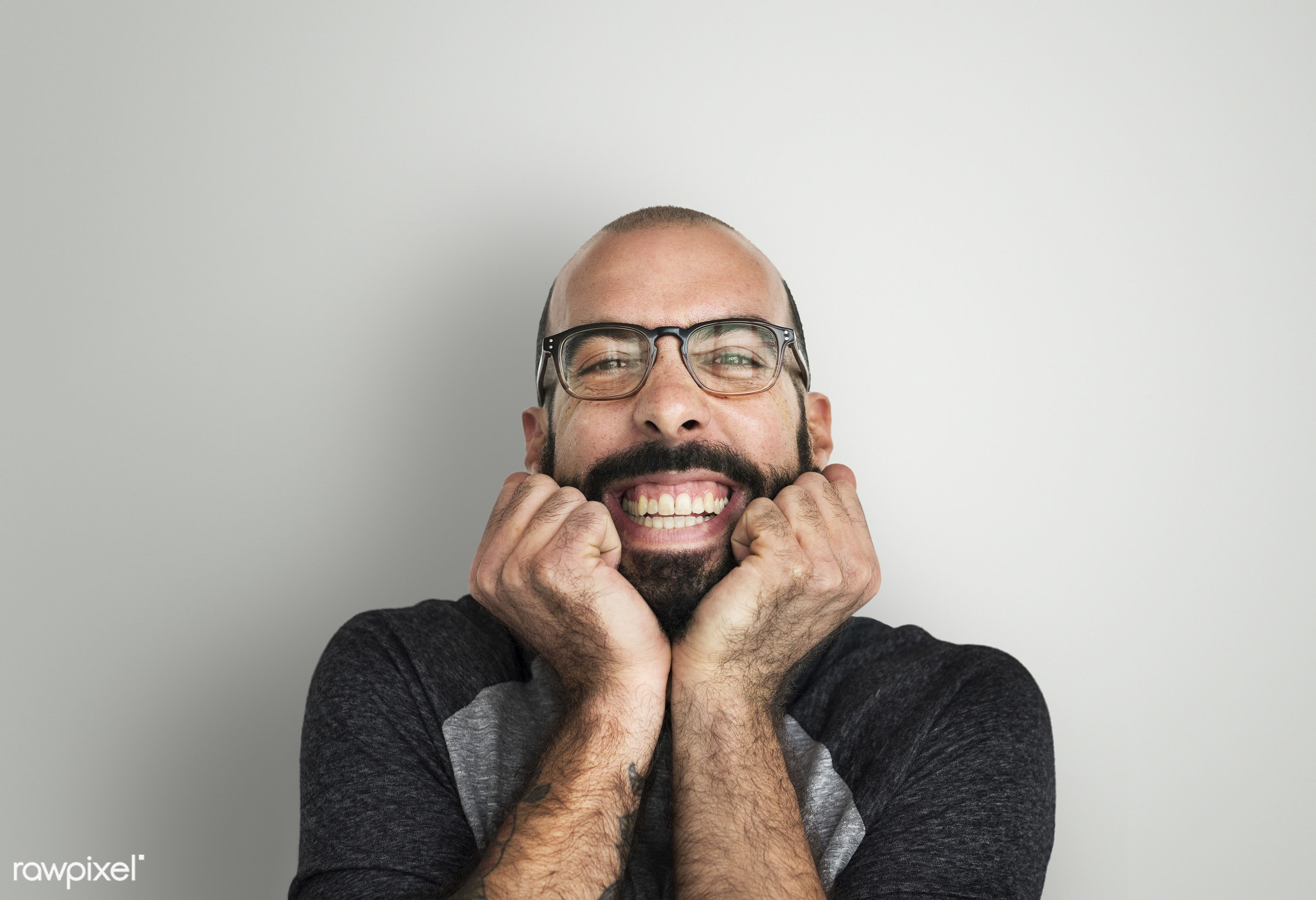 Portrait of quirky guy with beard - quirky, adult, beard, bearded, carefree, casual, cheerful, closeup, eccentric, emotional...