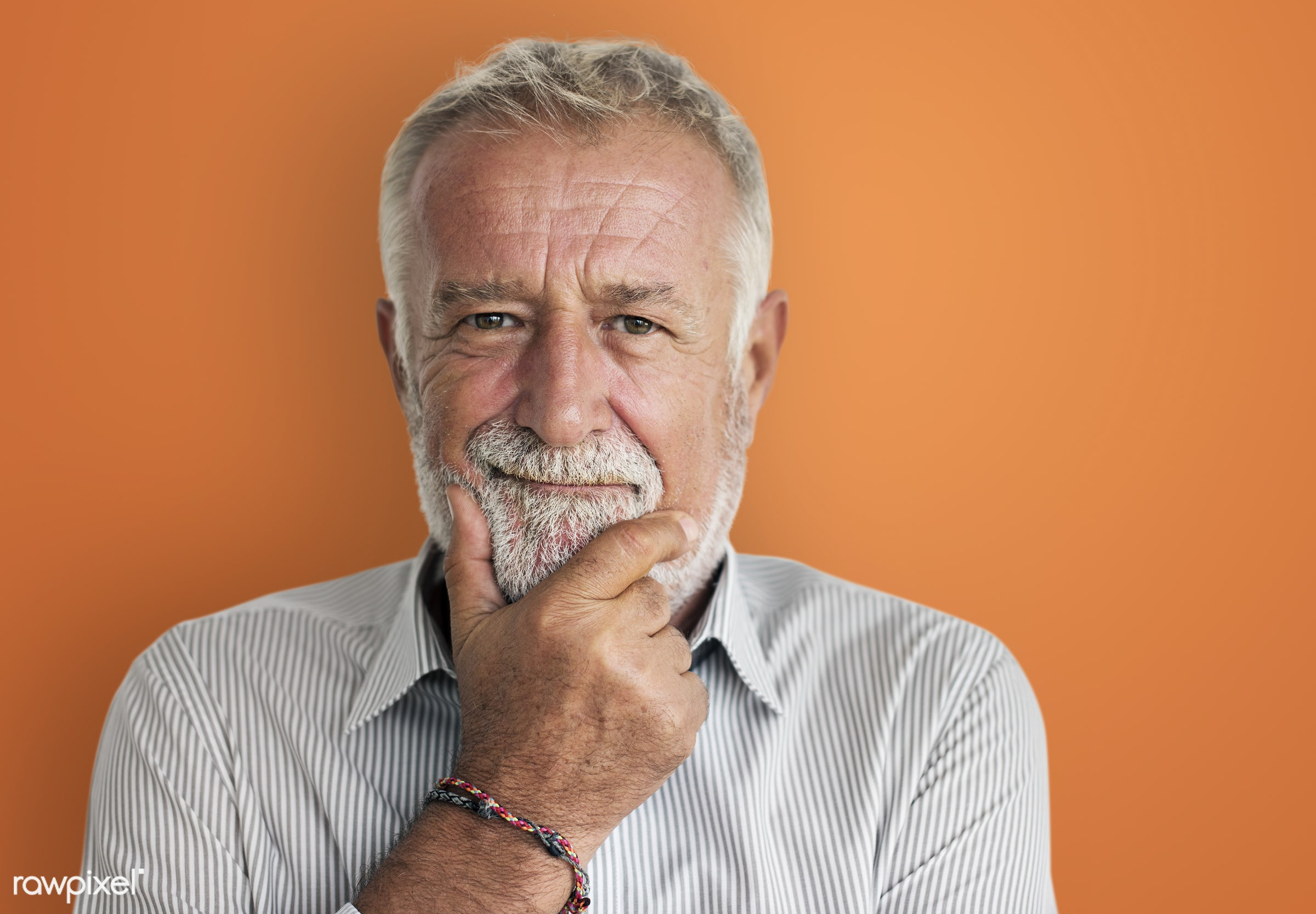 Portrait of bearded senior man - grandpa, adult, beard, bearded, carefree, casual, cheerful, closeup, emotional, expression...