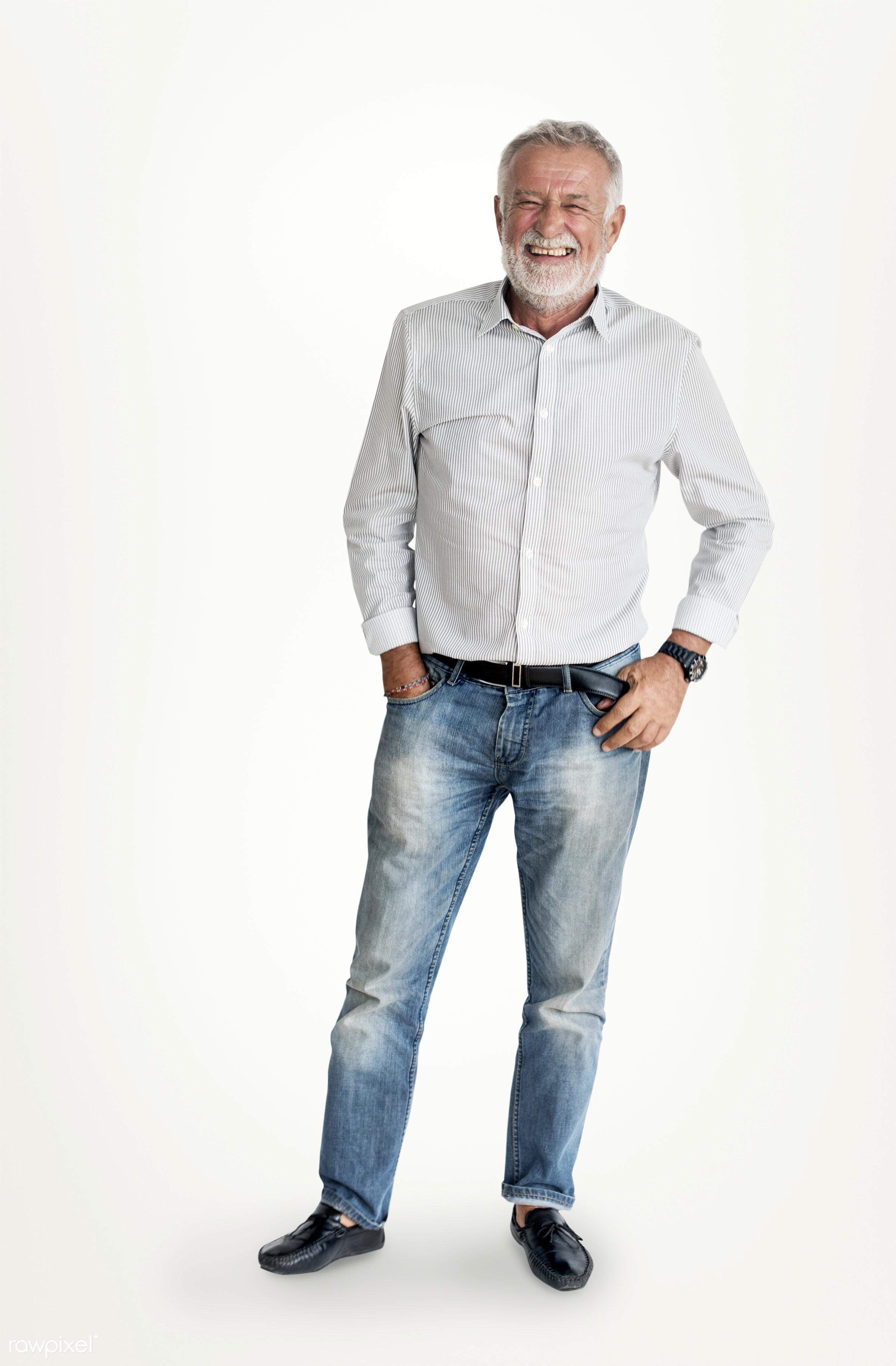 Portrait of bearded senior man - expression, face, joy, isolated on white, carefree, laughing, style, happy, lifestyle,...